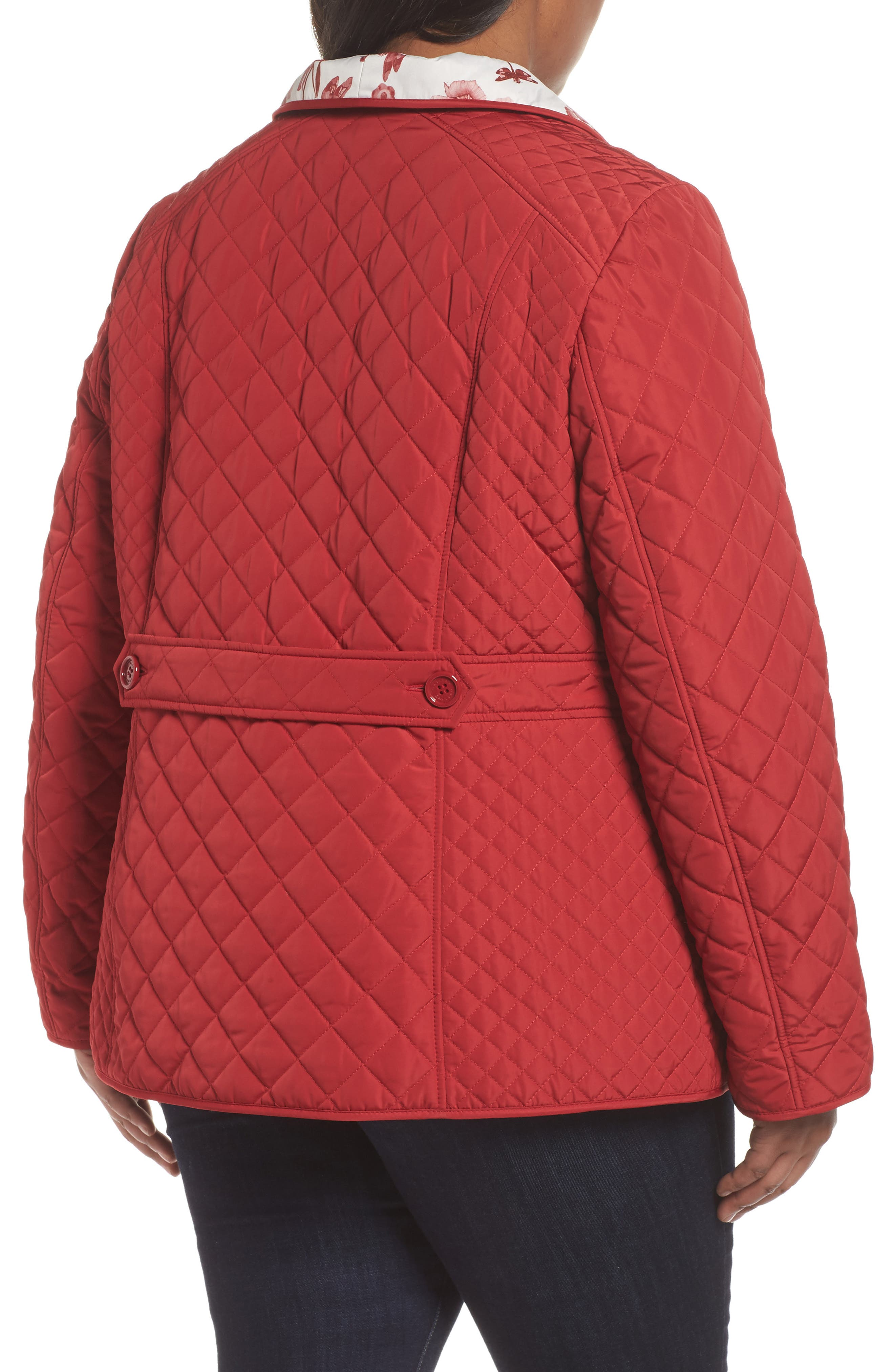 Print Collar Quilted Jacket,                             Alternate thumbnail 2, color,                             Tomato Red