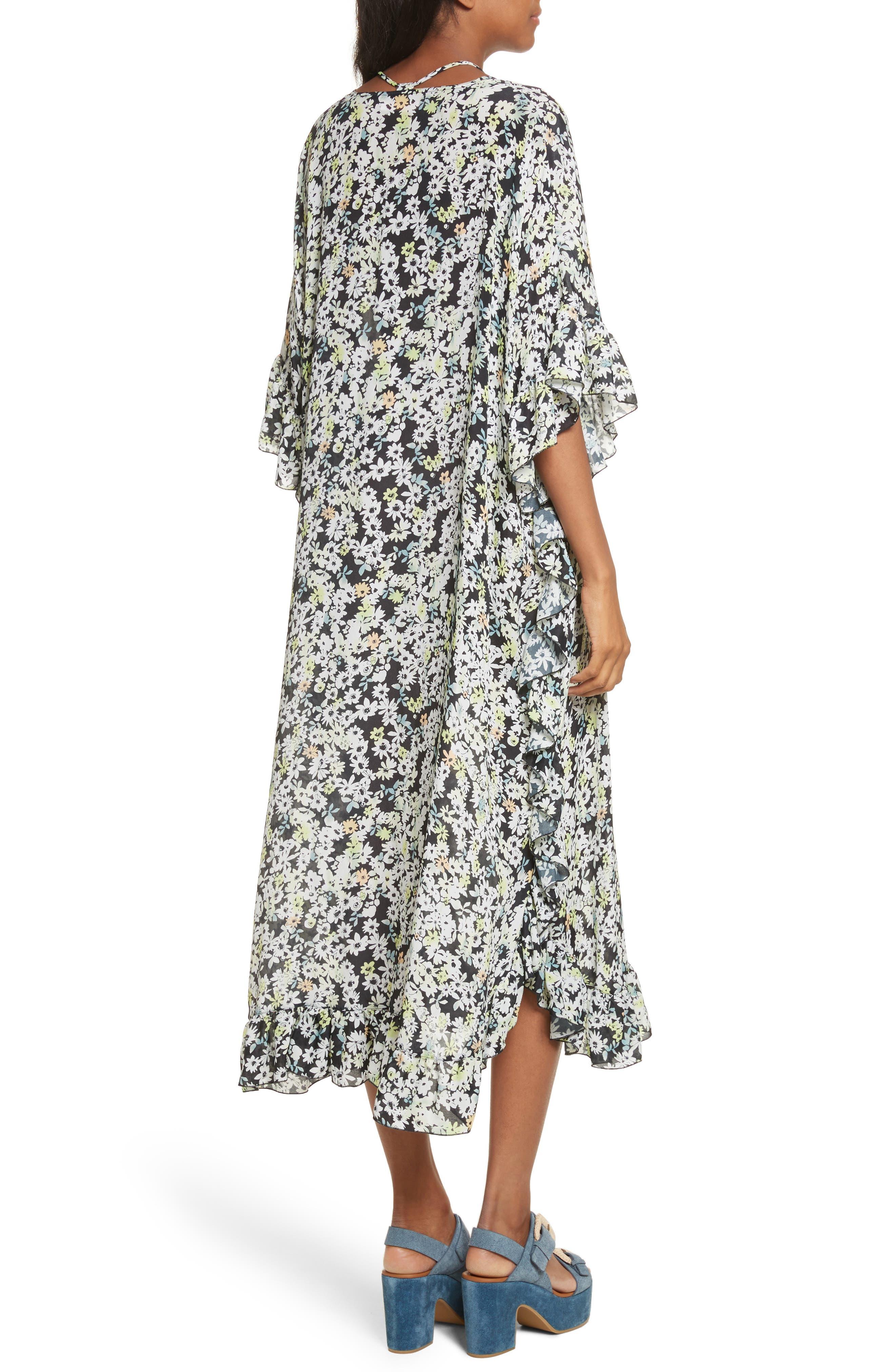 Floral Print Flutter Edge Dress,                             Alternate thumbnail 2, color,                             Multicolor Grey