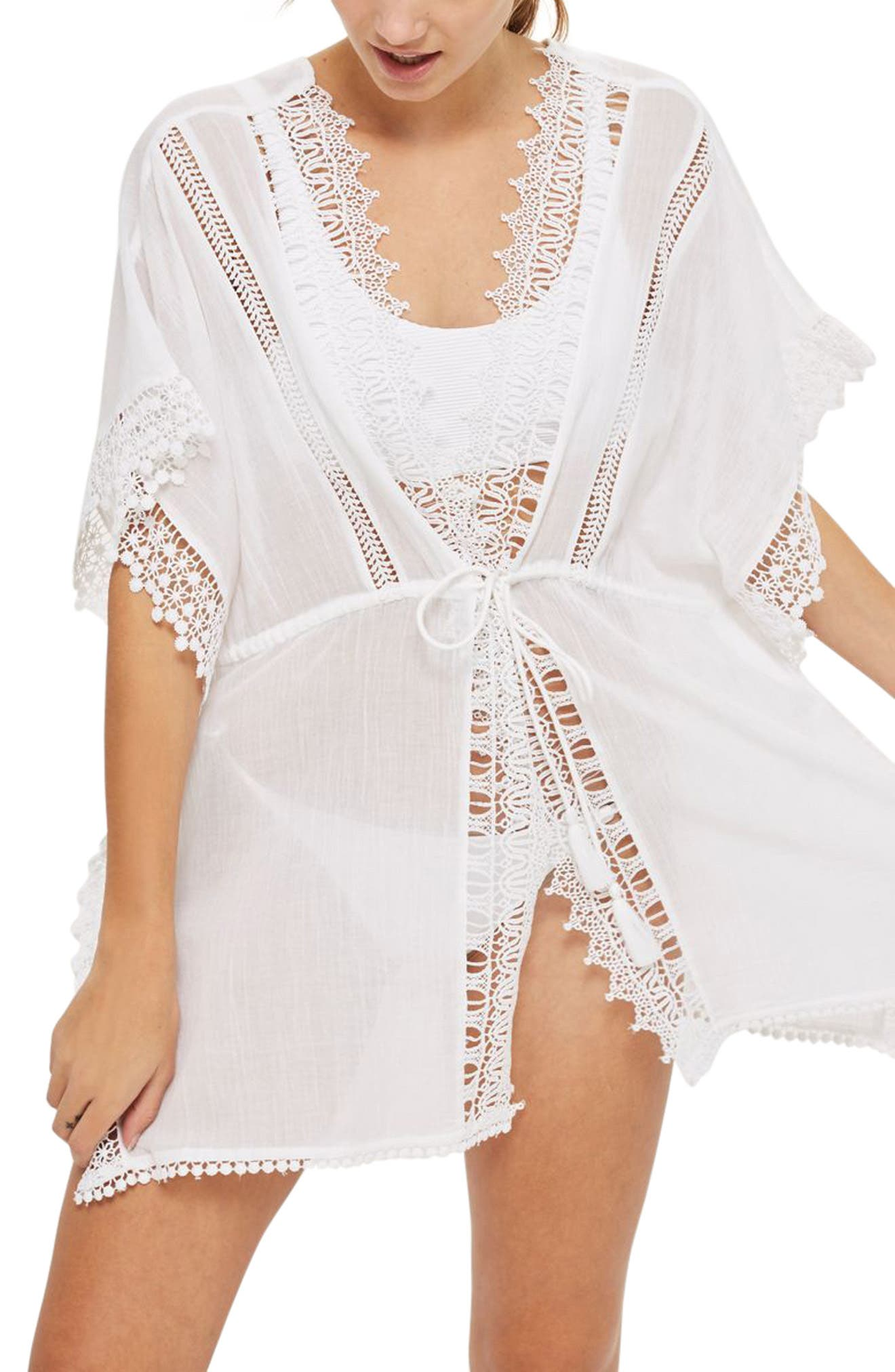 V-Neck Cover-Up Caftan,                             Main thumbnail 1, color,                             White