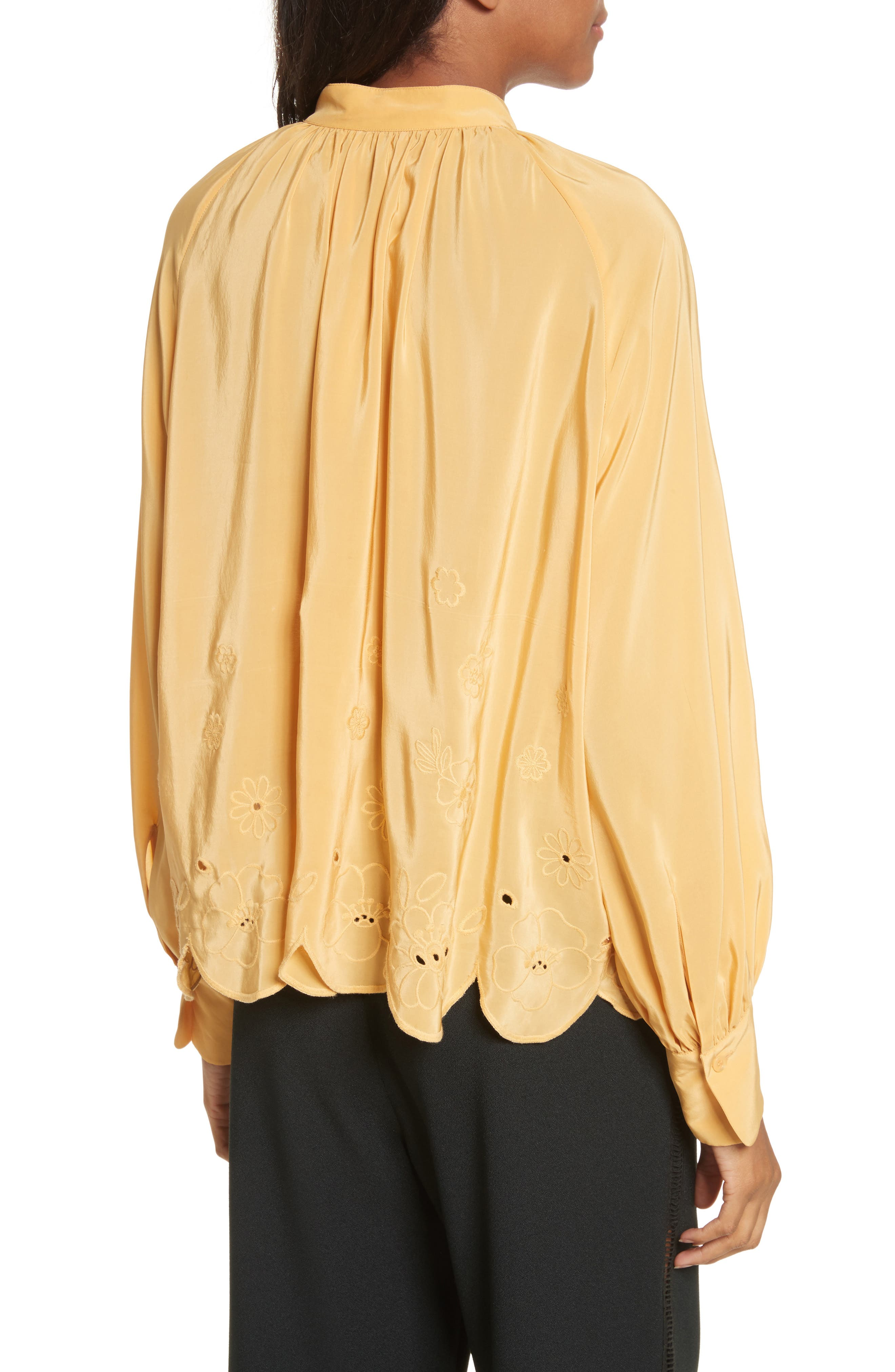 Embroidered Scallop Hem Shirt,                             Alternate thumbnail 2, color,                             Ochre
