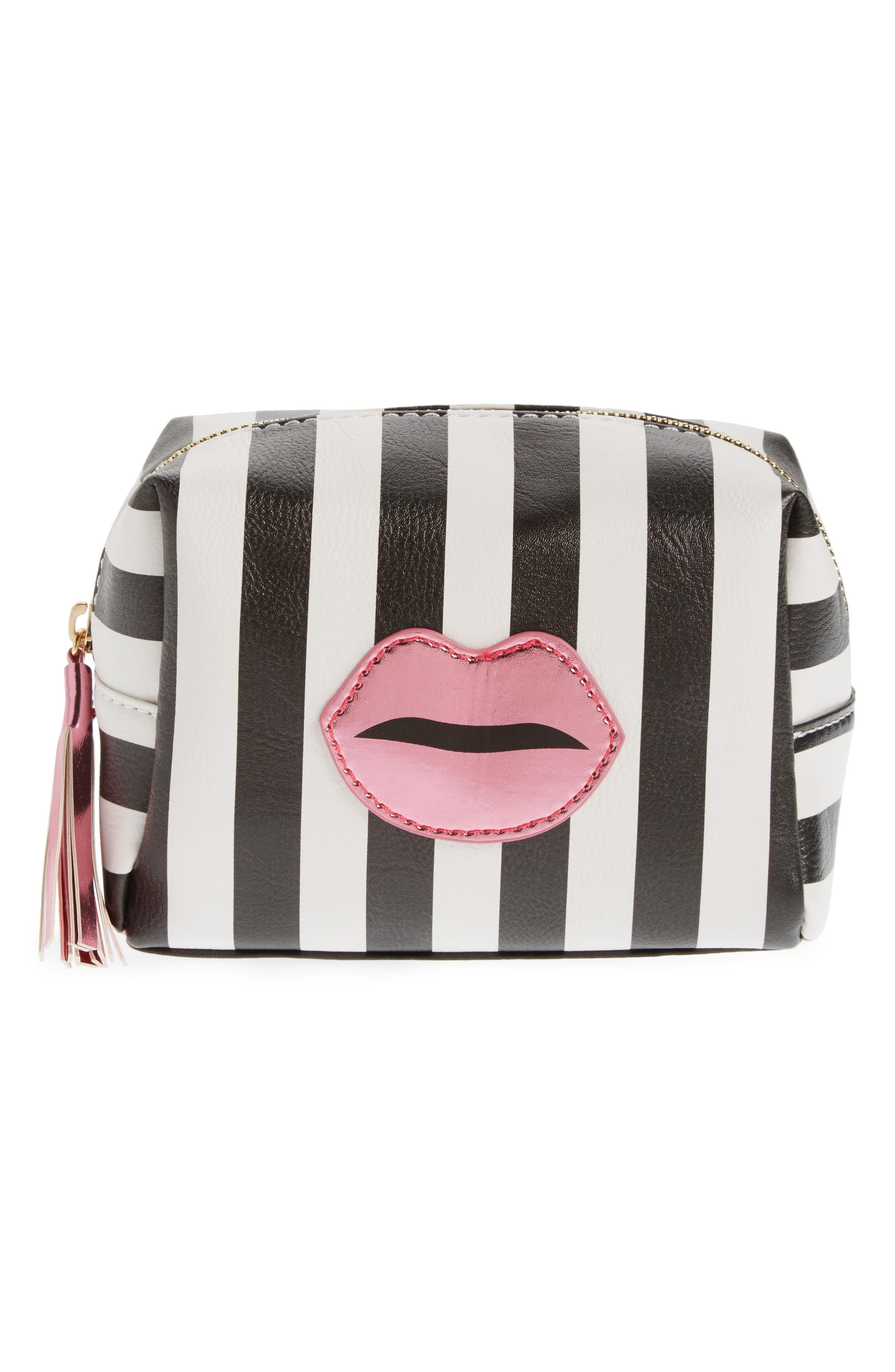 Metallic Lip Stripe Cosmetics Bag,                             Main thumbnail 1, color,                             Black/ White