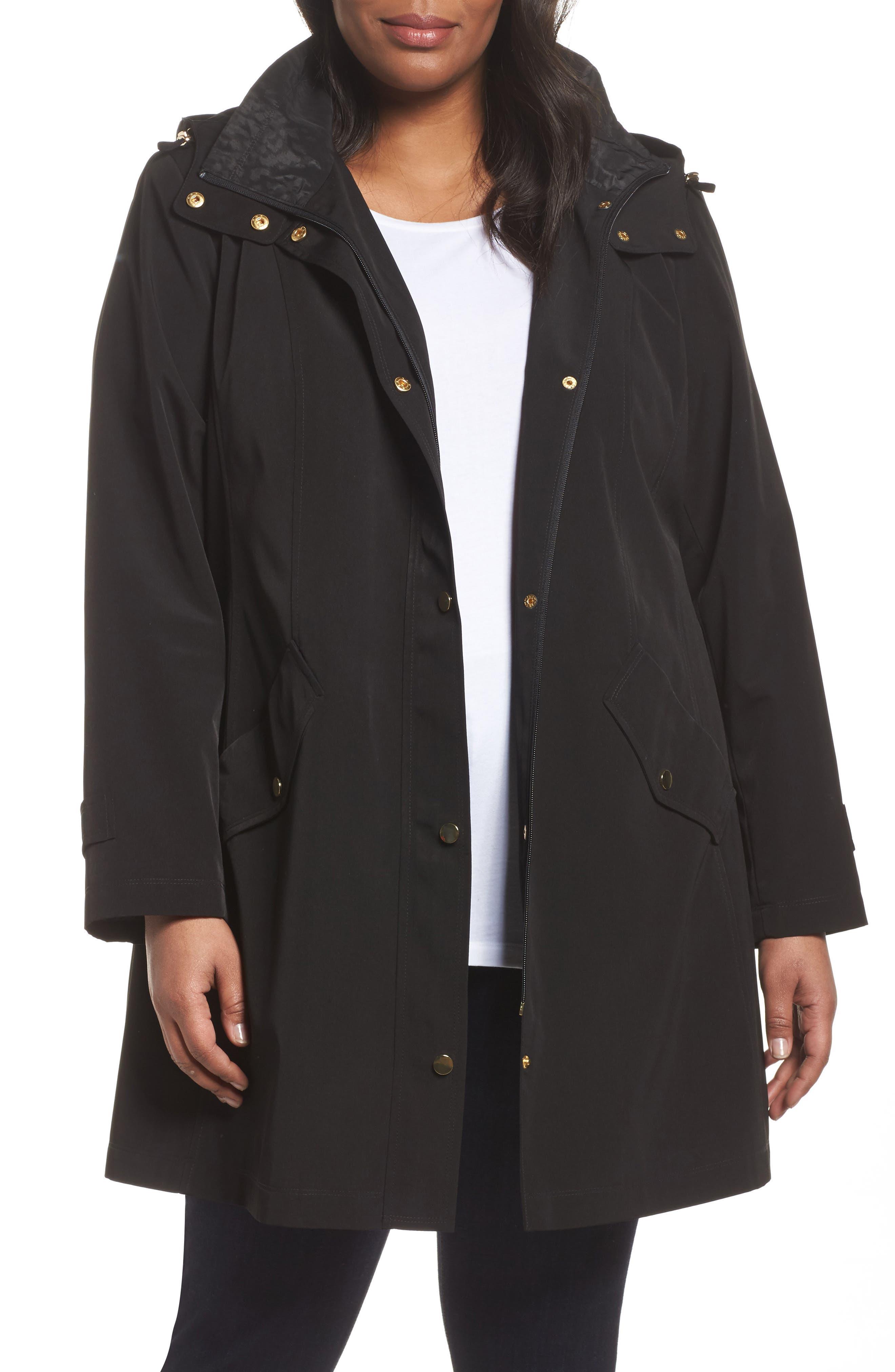 Swing Raincoat with Leopard Print Trim,                         Main,                         color, Black
