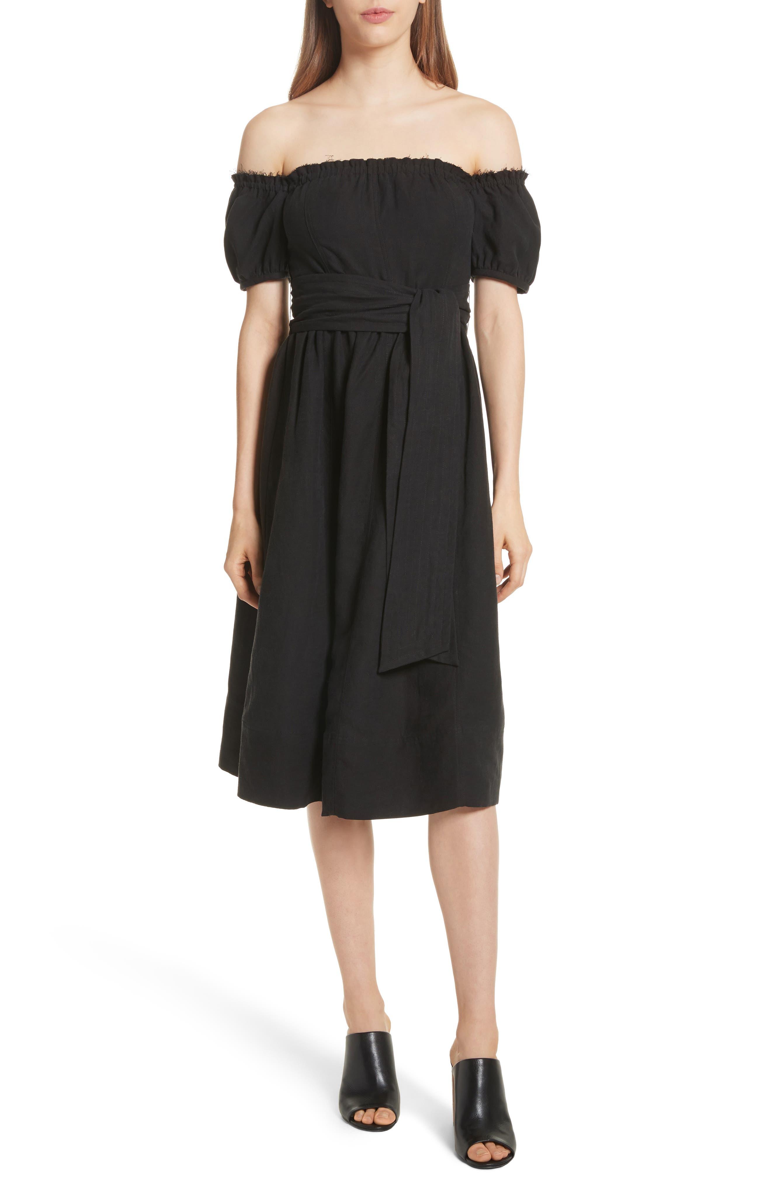 Lalla Off the Shoulder Linen Blend Dress,                             Main thumbnail 1, color,                             Black