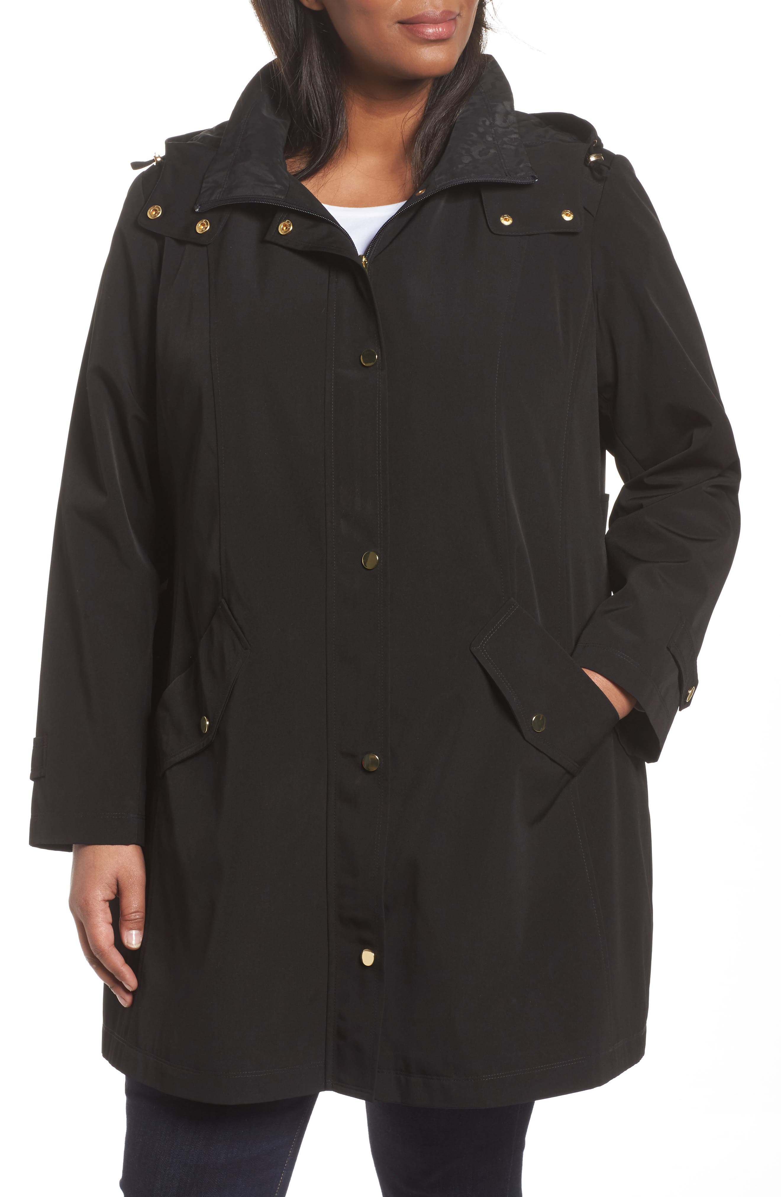 Alternate Image 4  - Gallery Swing Raincoat with Leopard Print Trim (Plus Size)