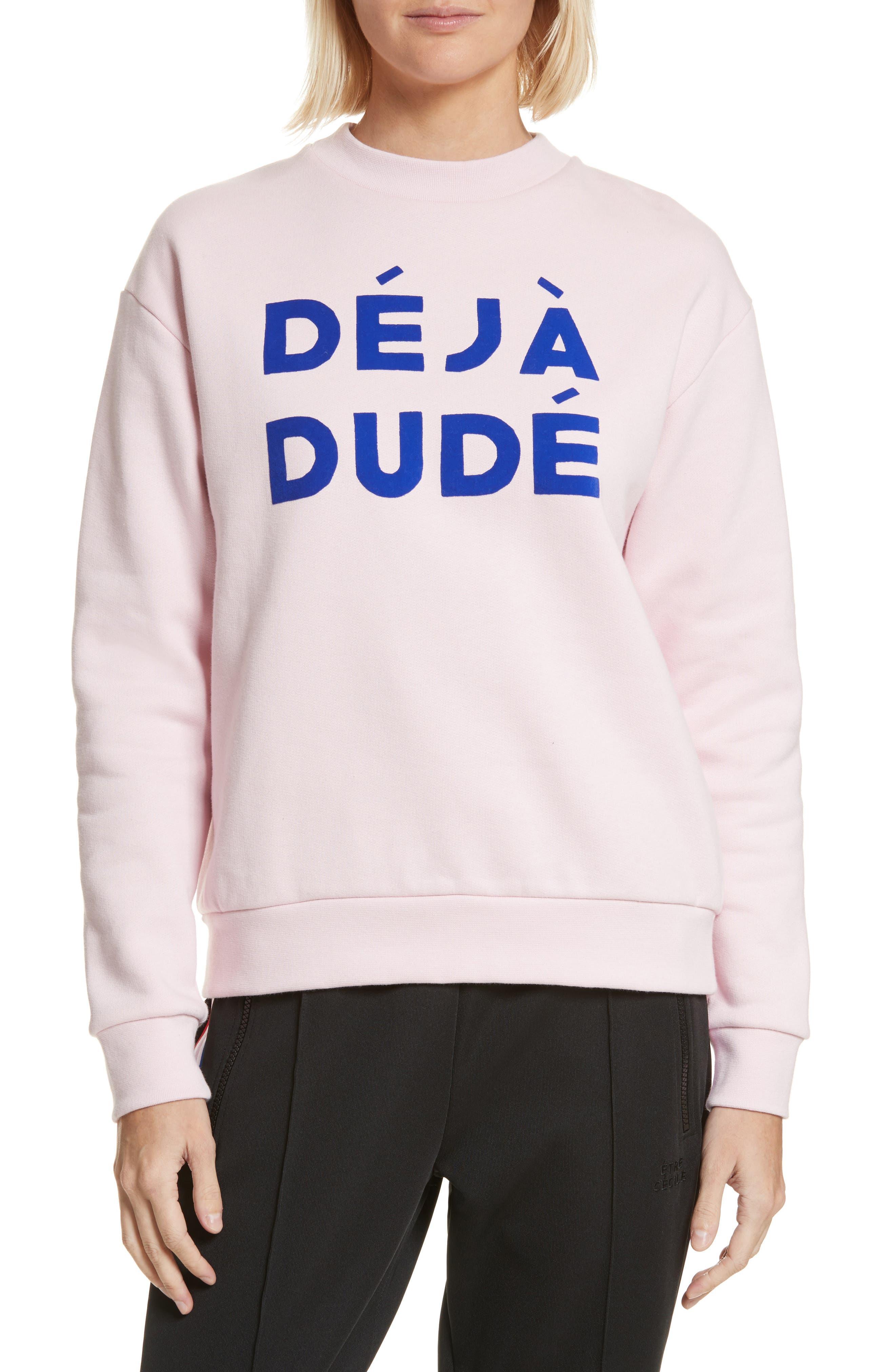 être cécile Déjà Dudé Boyfriend Sweatshirt,                         Main,                         color, Chalk Pink