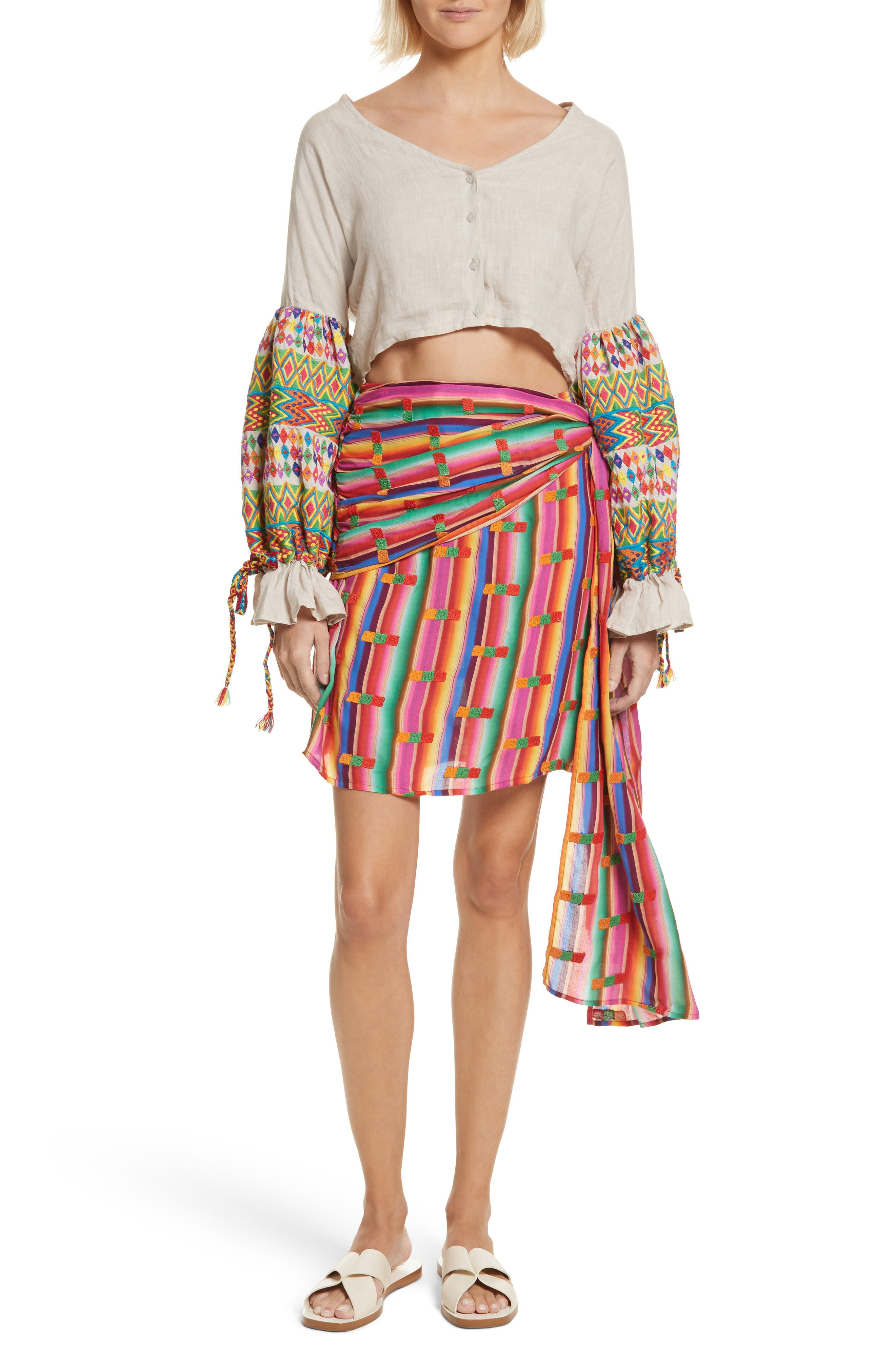 Roselie Wrap Style Skirt,                             Alternate thumbnail 7, color,                             Rainbow