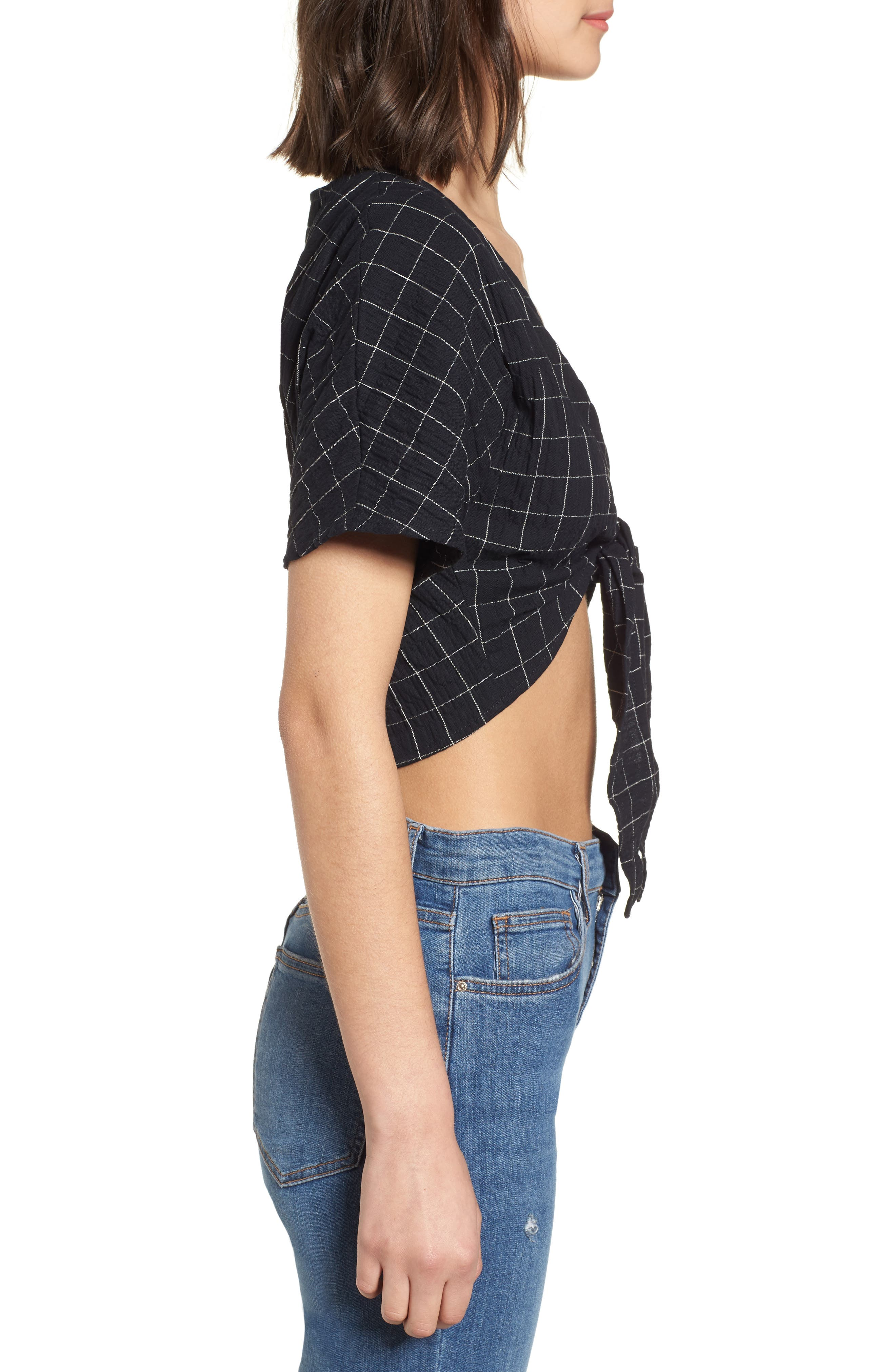 Tie Front Crop Top,                             Alternate thumbnail 3, color,                             Black
