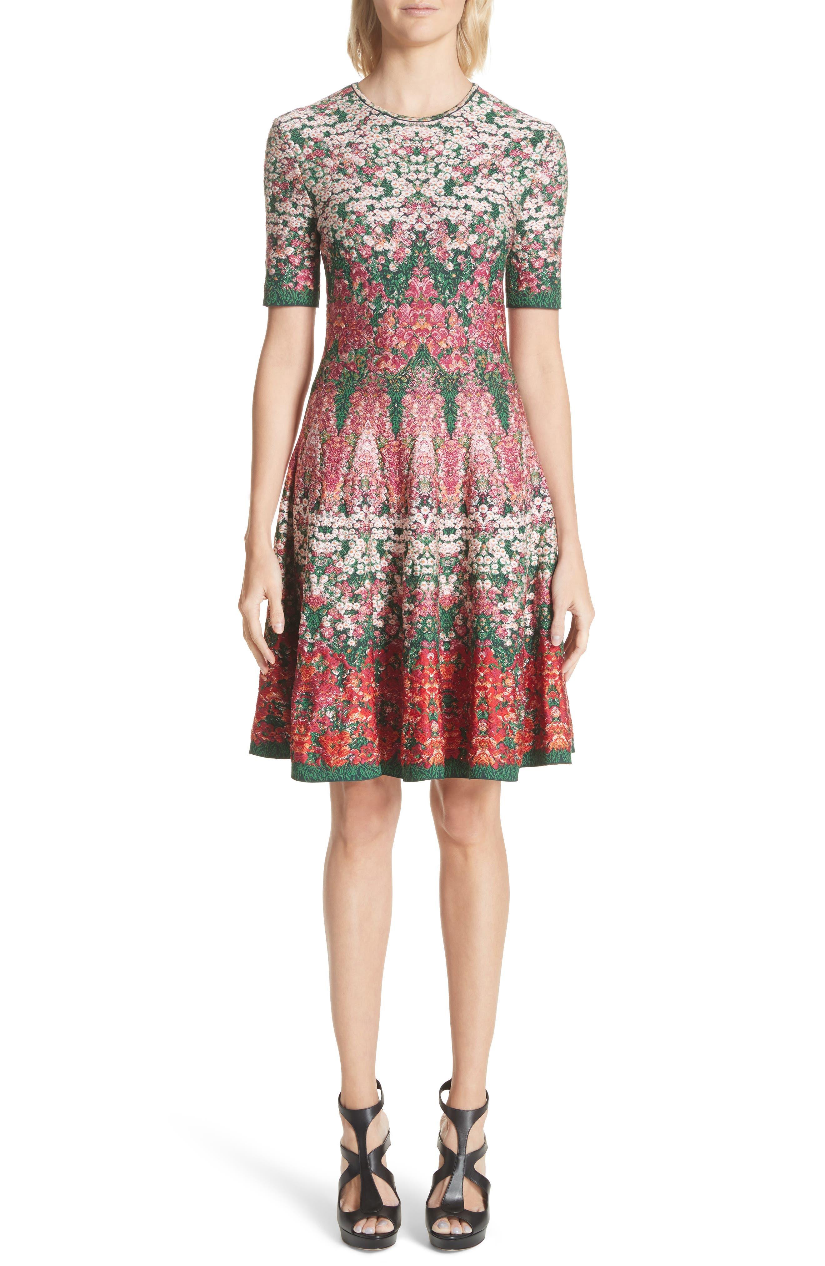 Alexander McQueen Floral Jacquard Knit Fit & Flare Dress