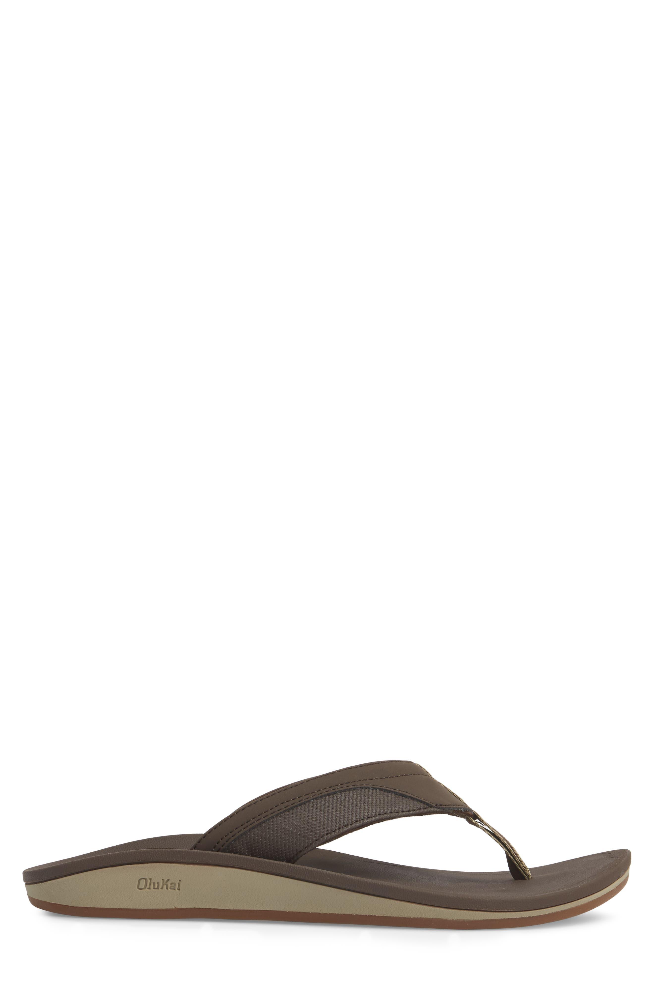Nohona Flip Flop,                             Alternate thumbnail 3, color,                             Dark Wood/ Dark Wood