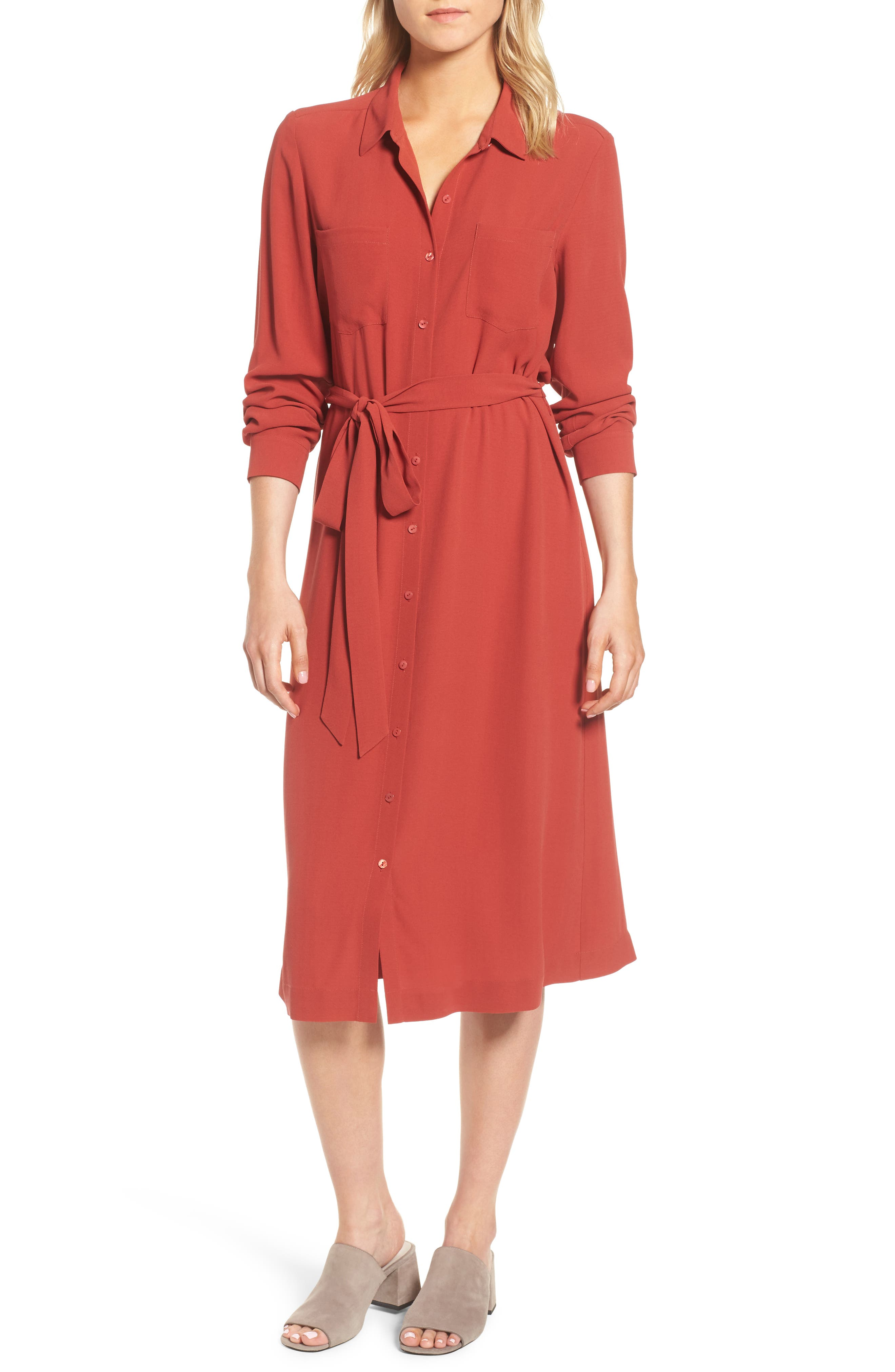 Silk Georgette Crepe Shirtdress,                             Main thumbnail 1, color,                             Serrano
