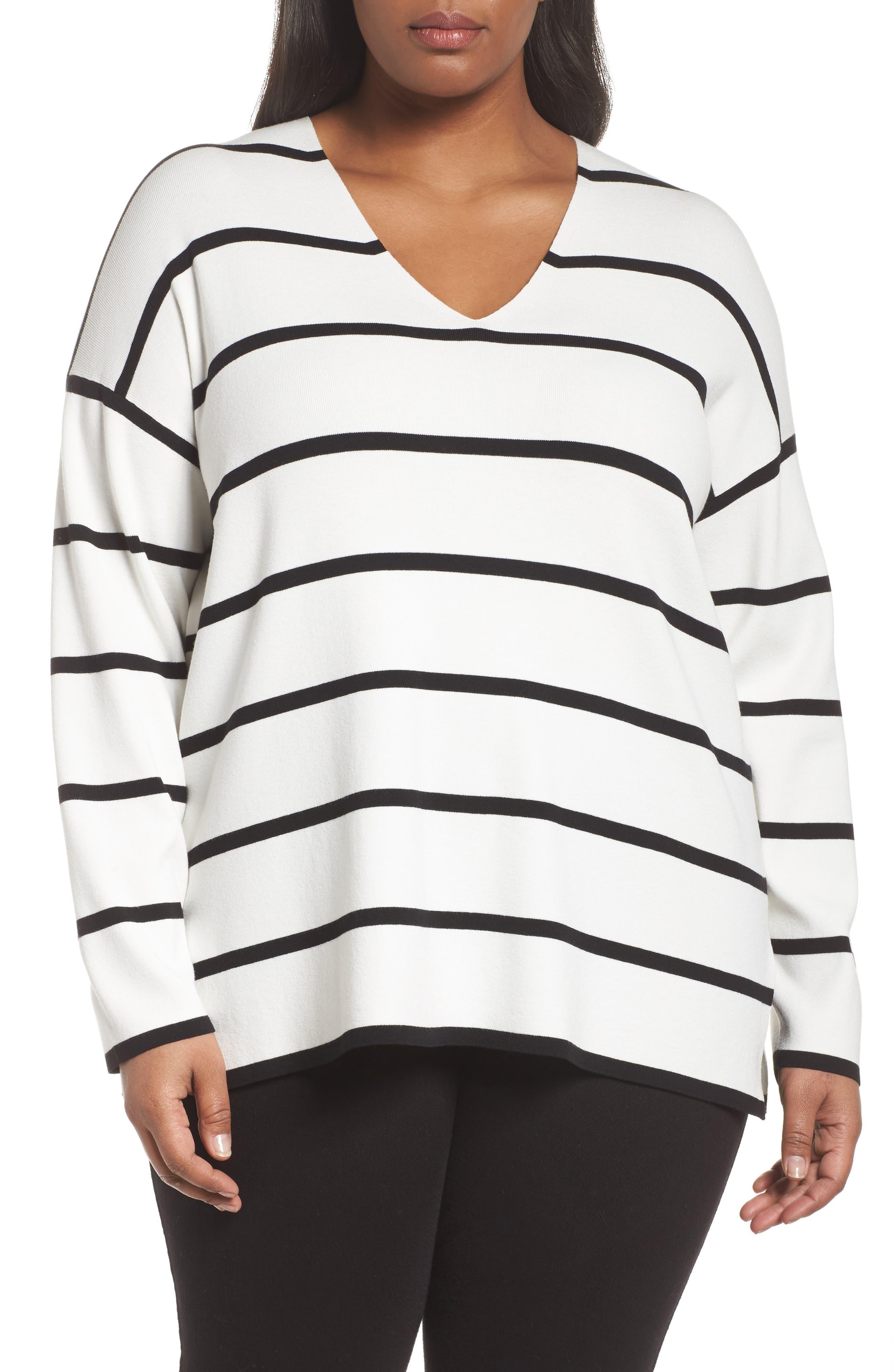 Alternate Image 1 Selected - Lafayette 148 New York Stripe Sweater (Plus Size)