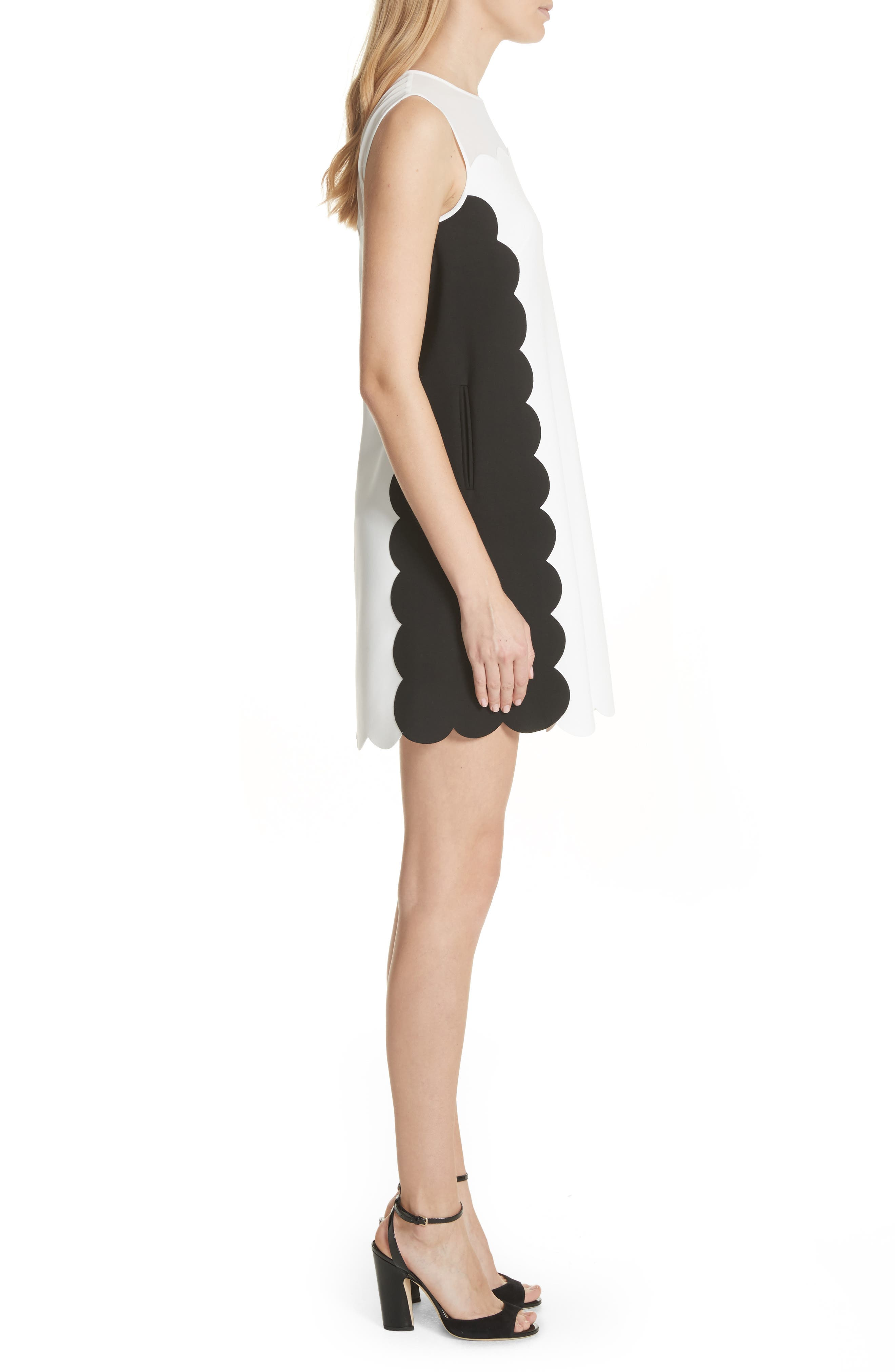 Contrast Scallop Overlay A-Line Dress,                             Alternate thumbnail 3, color,                             Natural