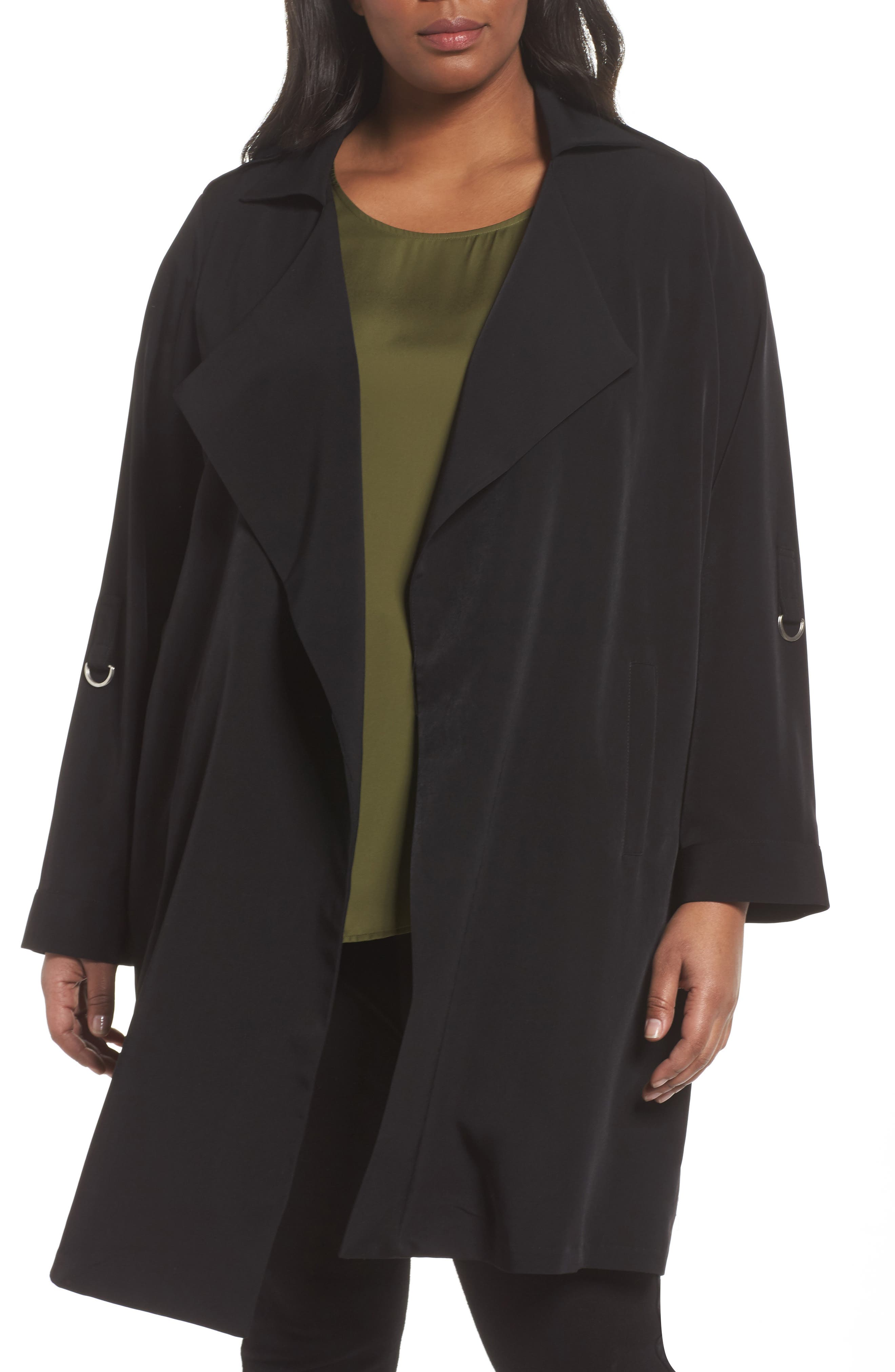 Kaiza Trench Coat,                             Alternate thumbnail 4, color,                             Black Beauty