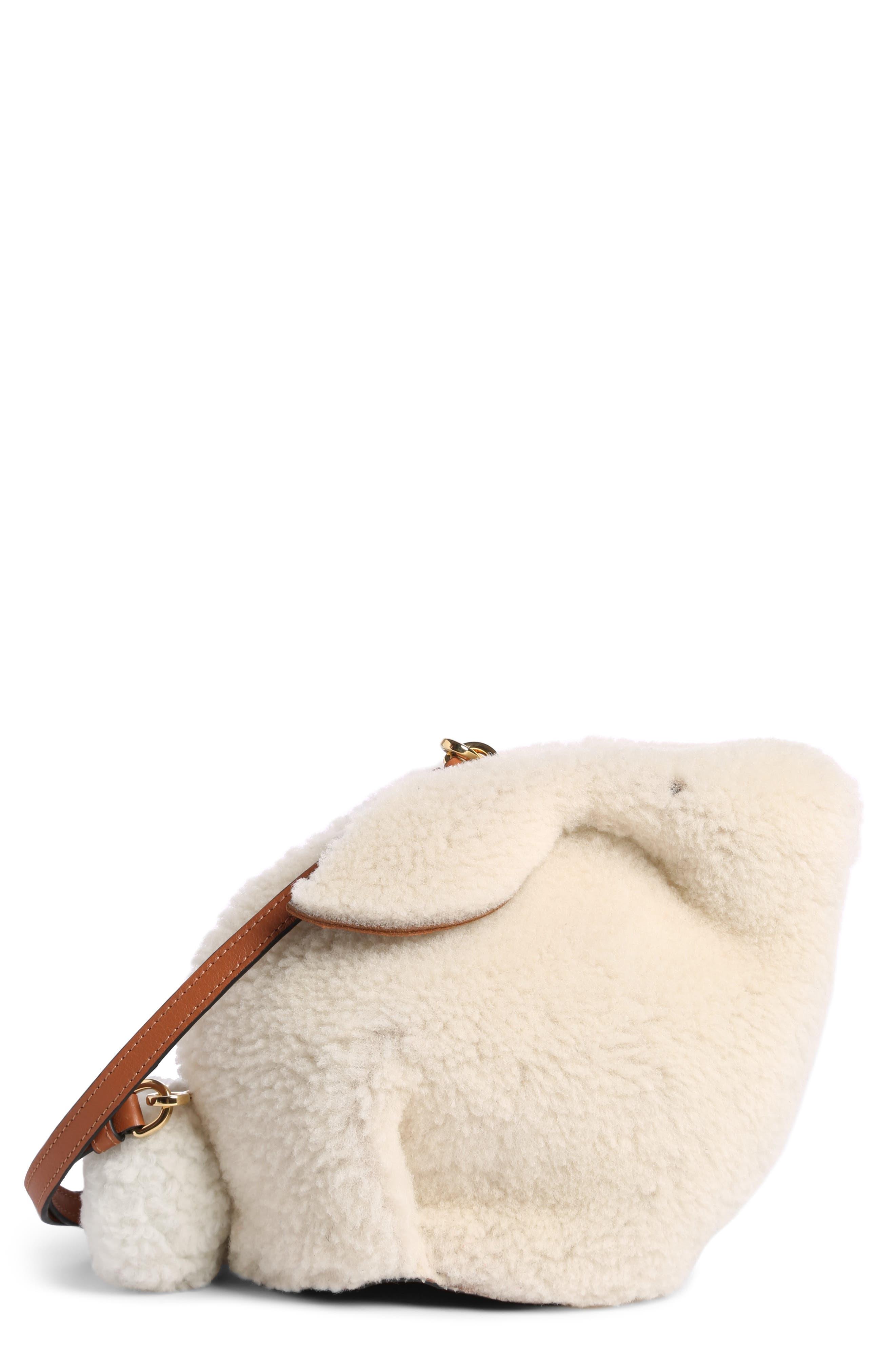 Mini Bunny Fuzzy Genuine Shearling Crossbody Bag,                         Main,                         color, Natural