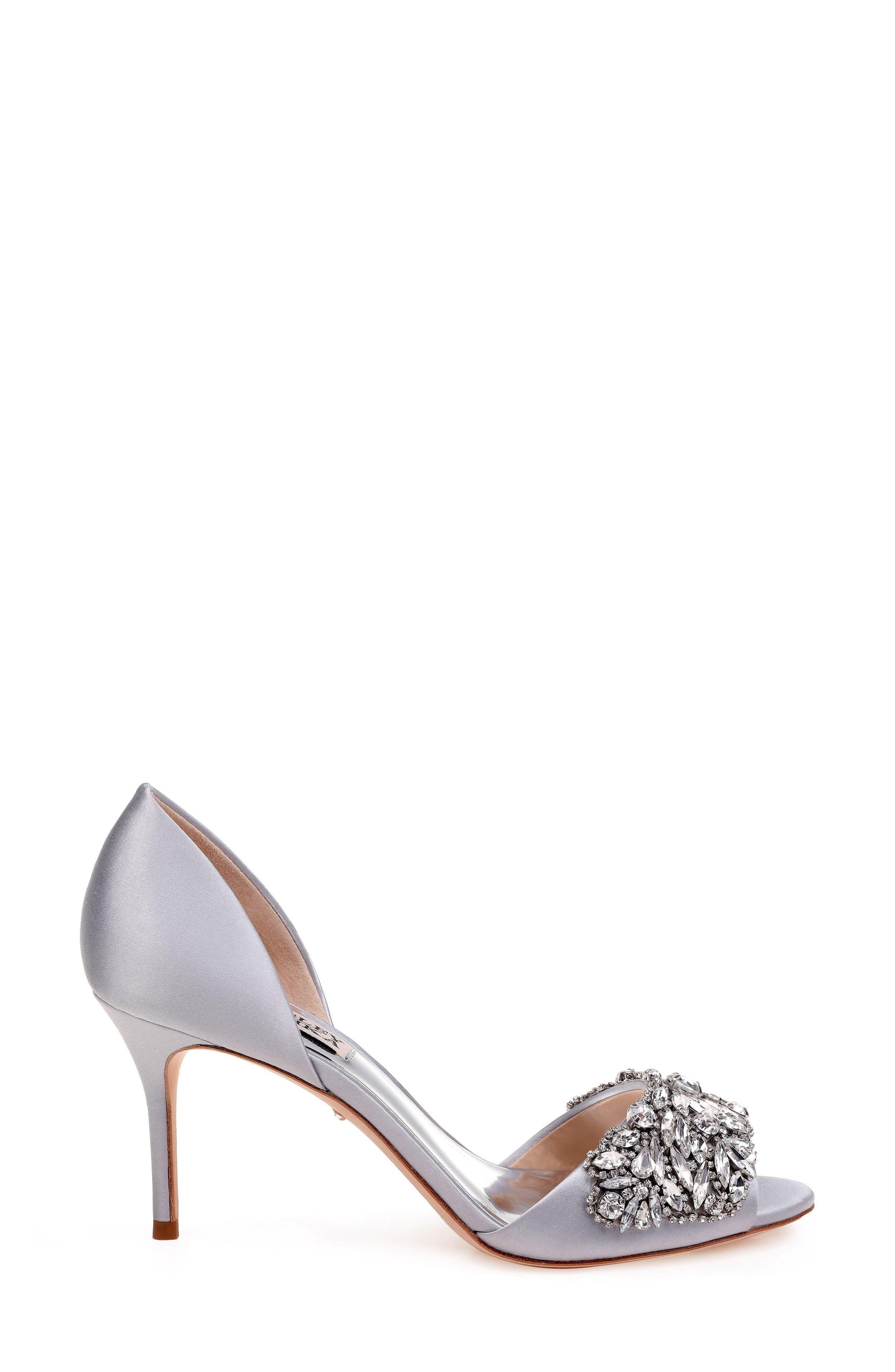 Hansen Crystal Embellished Sandal,                             Alternate thumbnail 3, color,                             Silver Satin