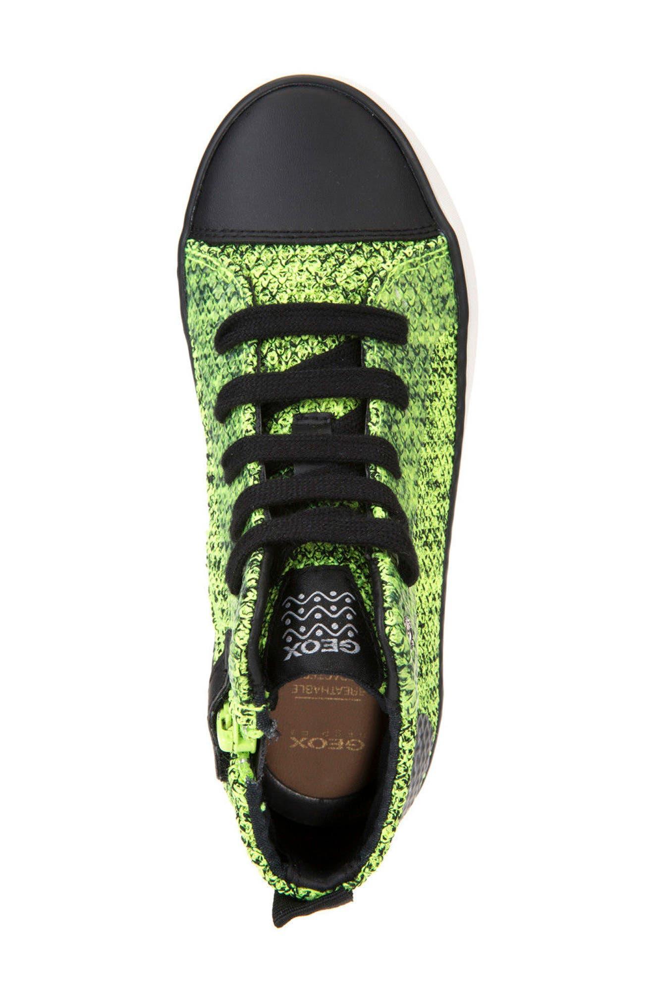 Alonisso Knit Mid Top Sneaker,                             Alternate thumbnail 5, color,                             Lime/ Black