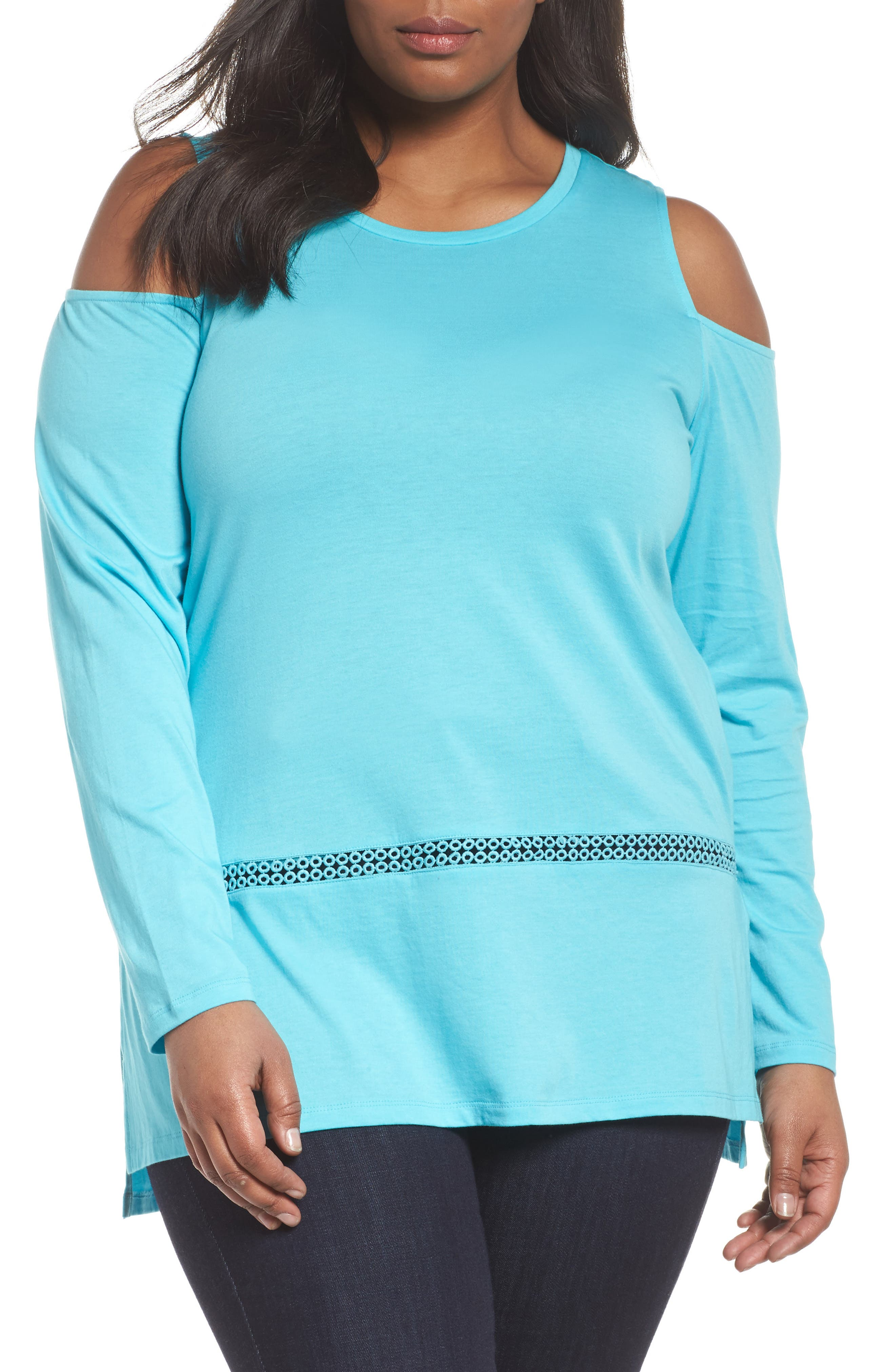 Cold Shoulder Top,                         Main,                         color, Turquoise