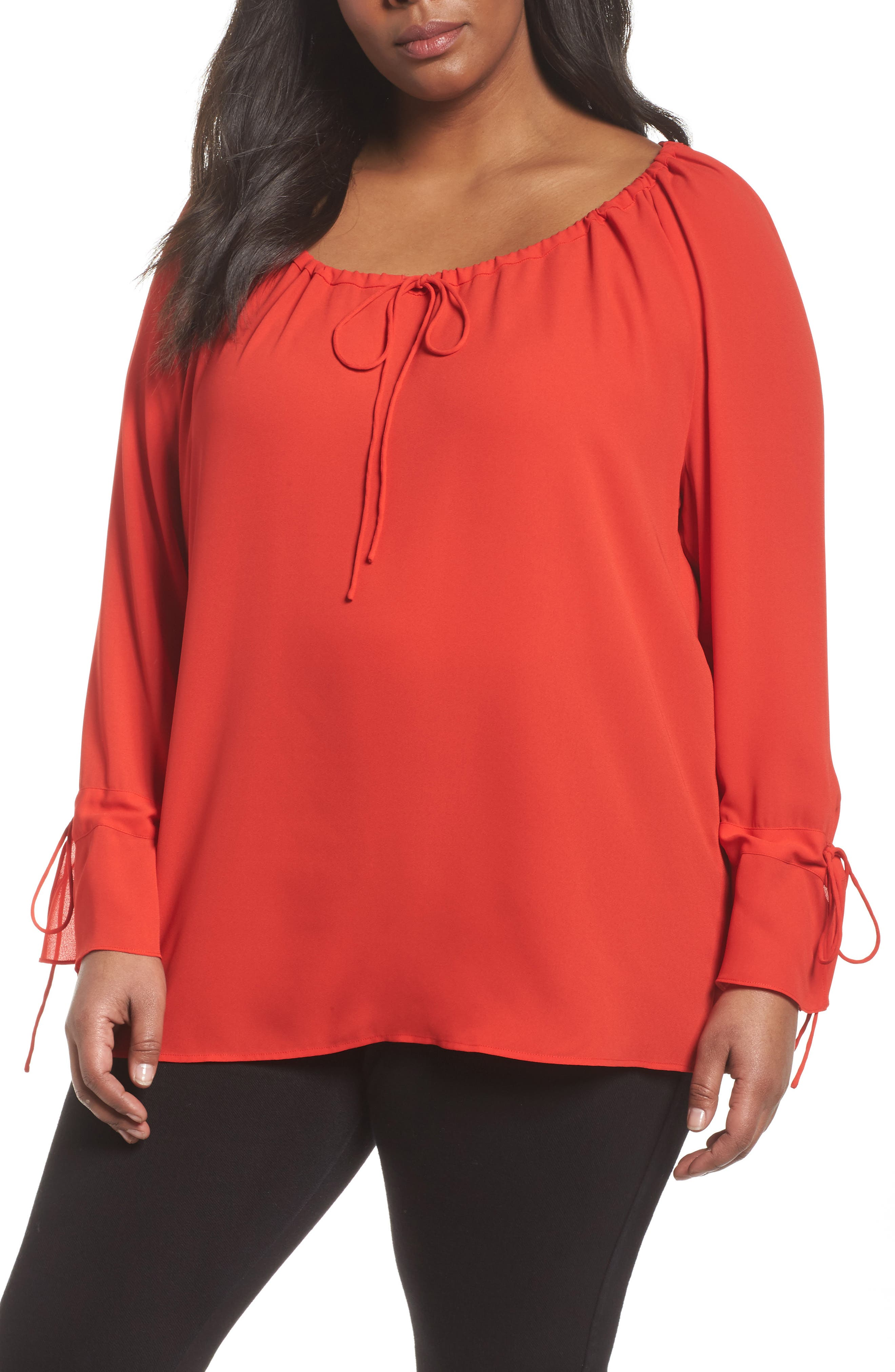 Sejour Drawstring Neck Crepe Top (Plus Size)