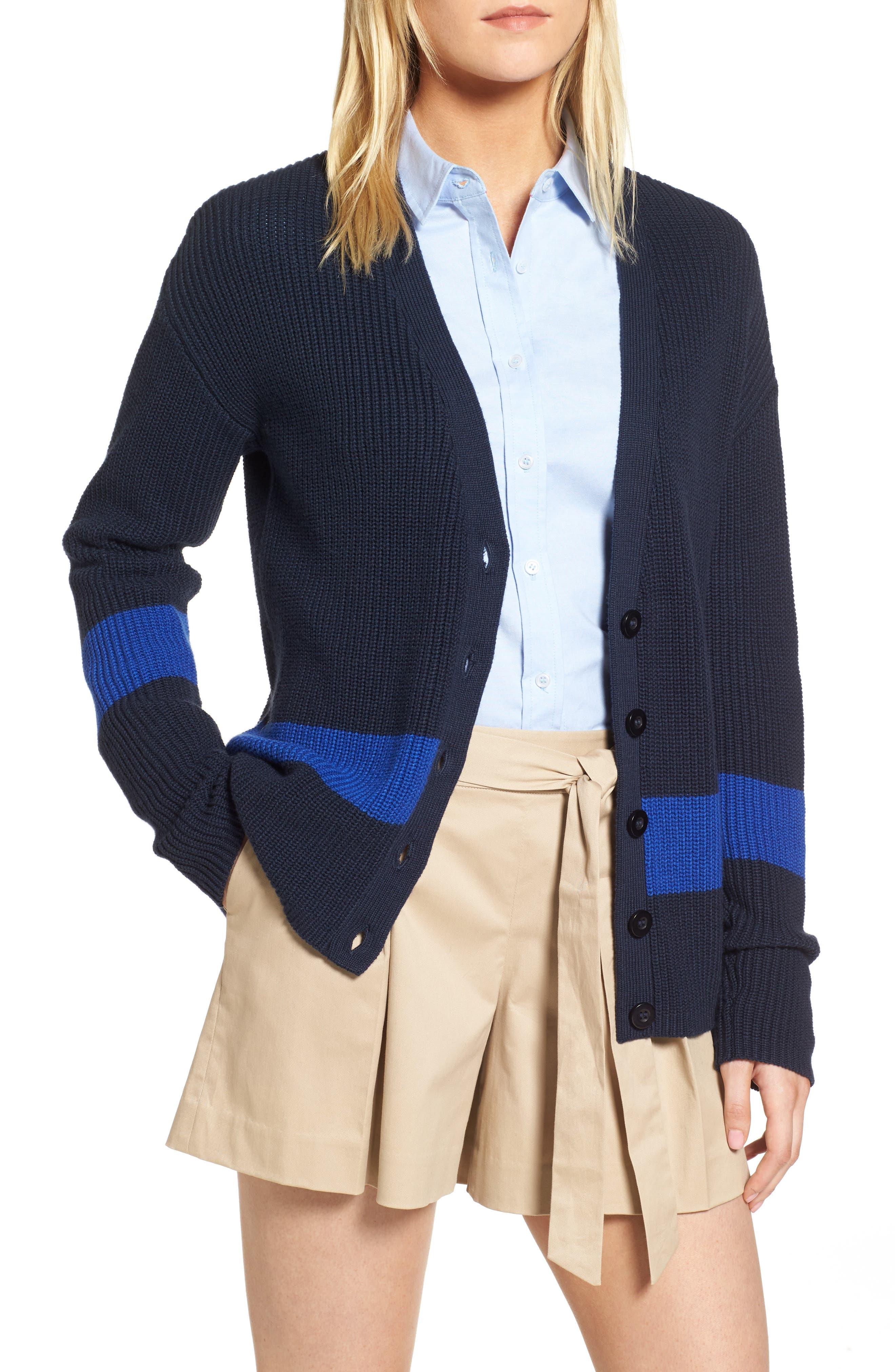 Shaker Knit Cardigan,                         Main,                         color, Navy- Blue Colorblock