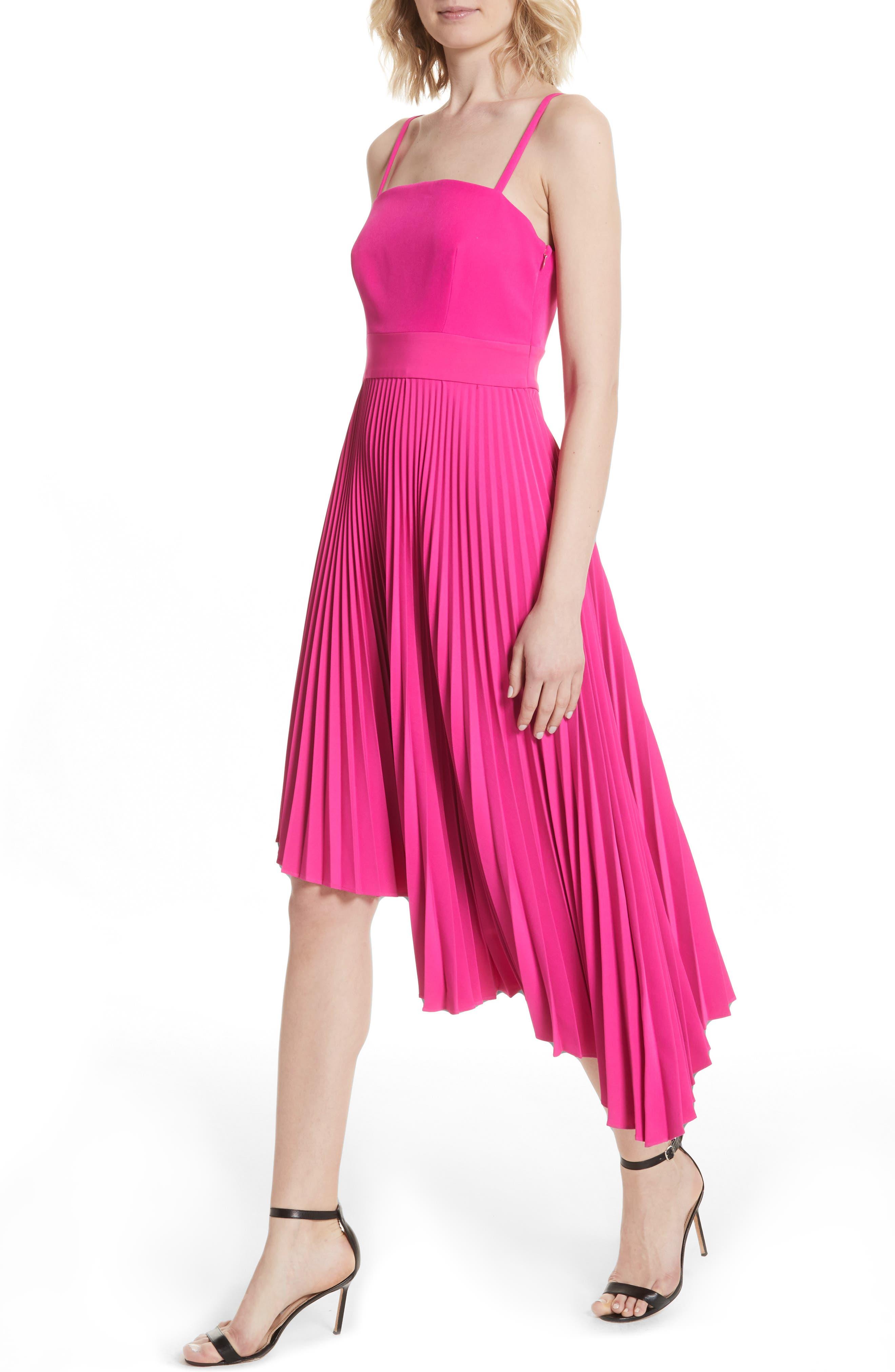 Eliza Pleated Asymmetrical Sundress,                             Alternate thumbnail 4, color,                             Raspberry