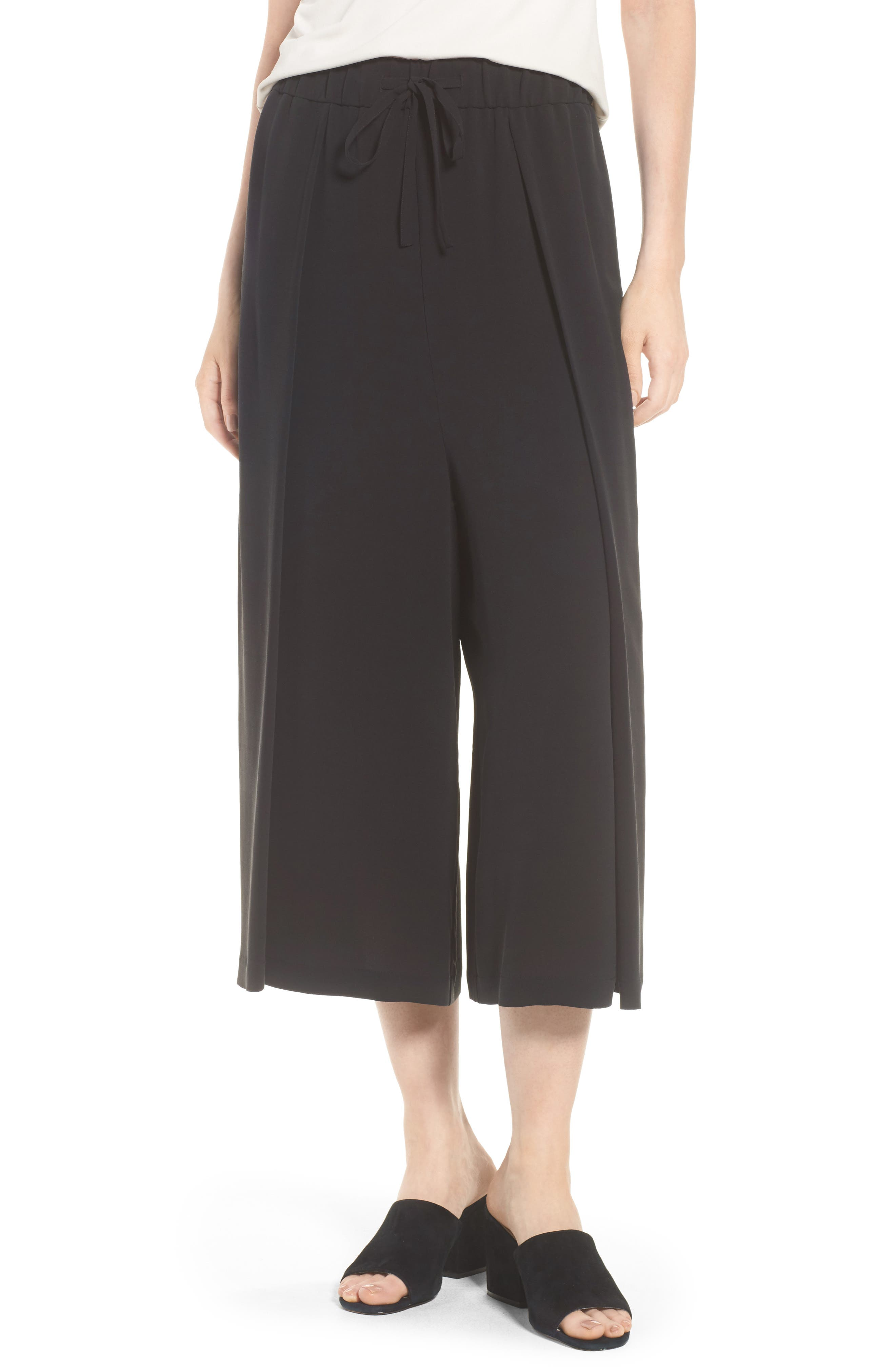 Crop Silk Pants,                             Main thumbnail 1, color,                             Black