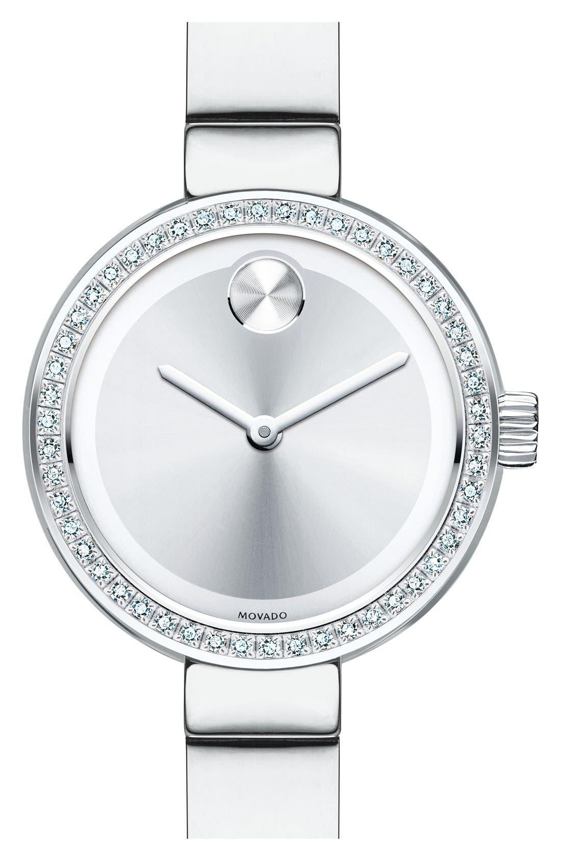 Bold Diamond Bezel Bangle Watch, 25mm,                             Main thumbnail 1, color,                             Silver