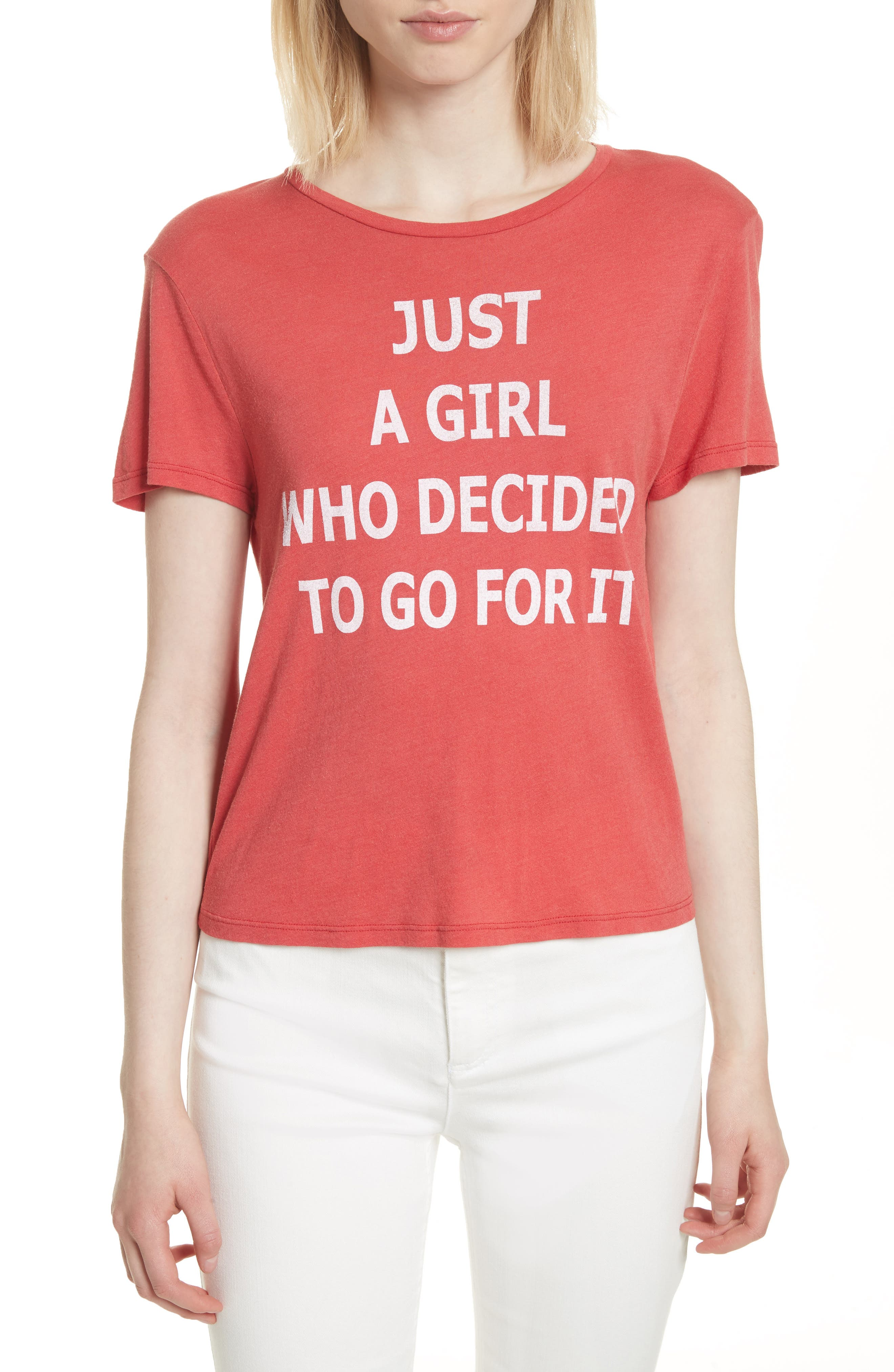 AO.LA Just a Girl Cicely Classic Tee,                         Main,                         color, Perfect Poppy/ White