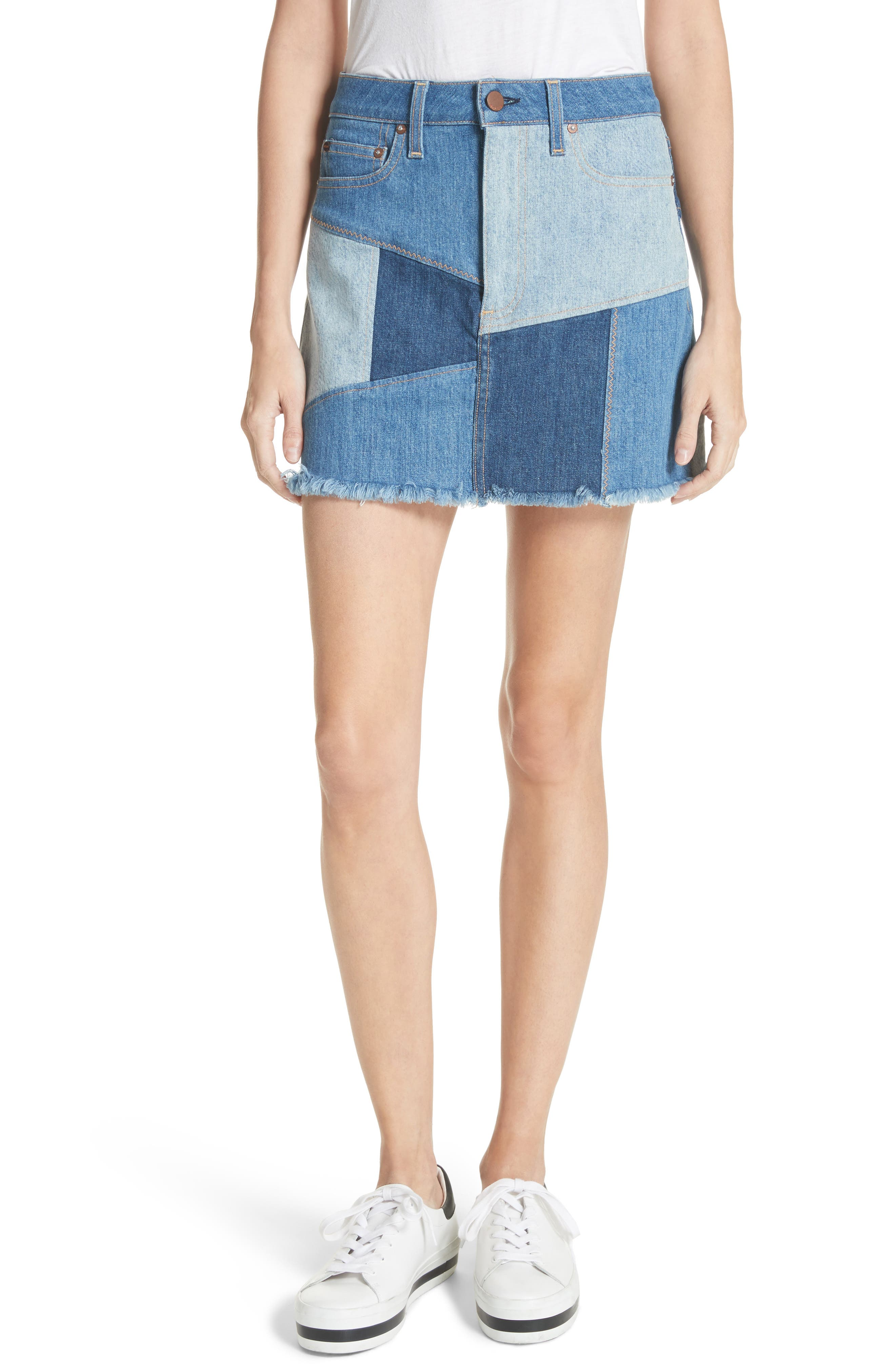 AO.LA Patchwork Denim Miniskirt,                         Main,                         color, Keep Steppin