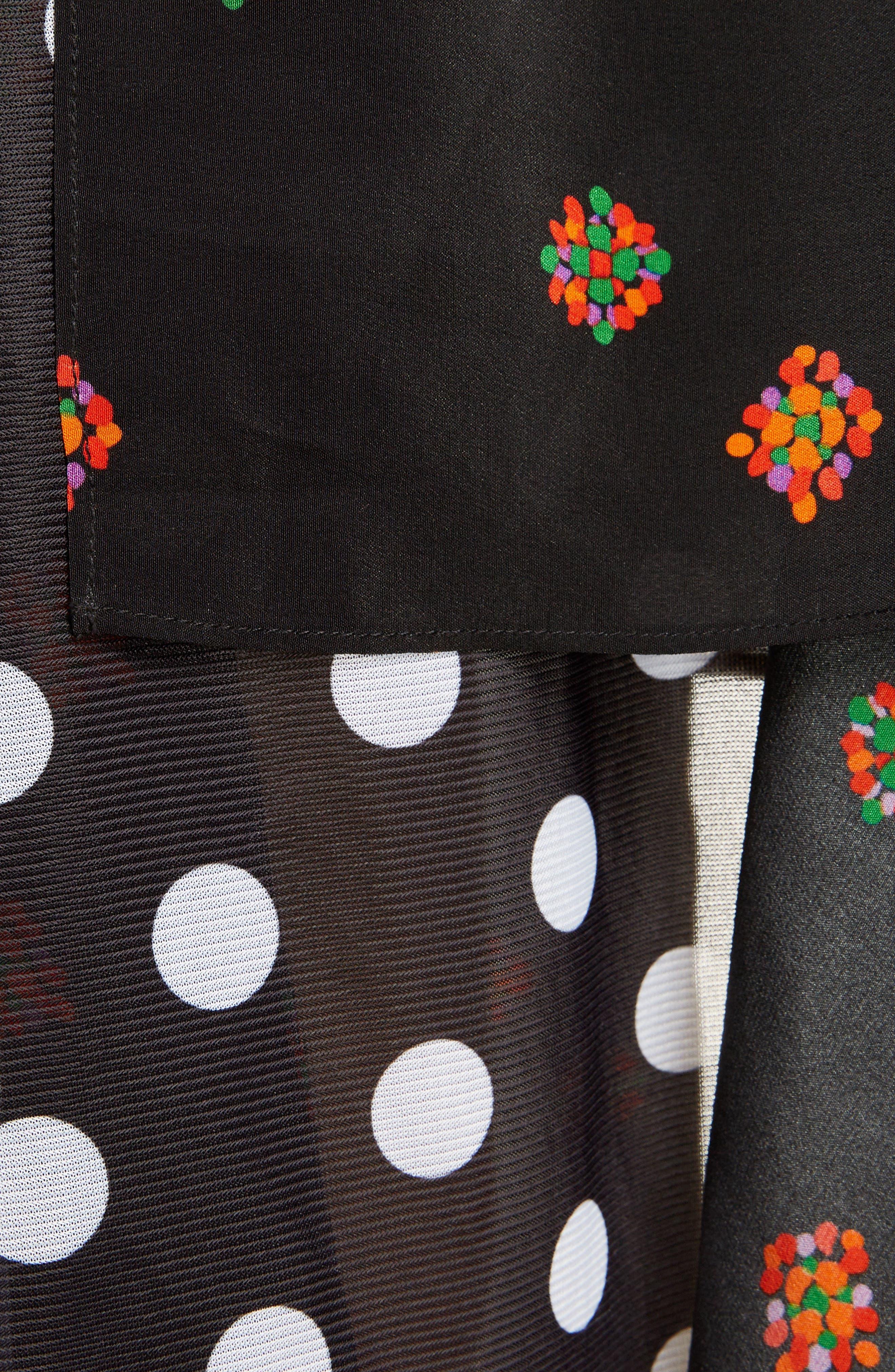 Polka Dot & Floral Panel Skirt,                             Alternate thumbnail 5, color,                             Black