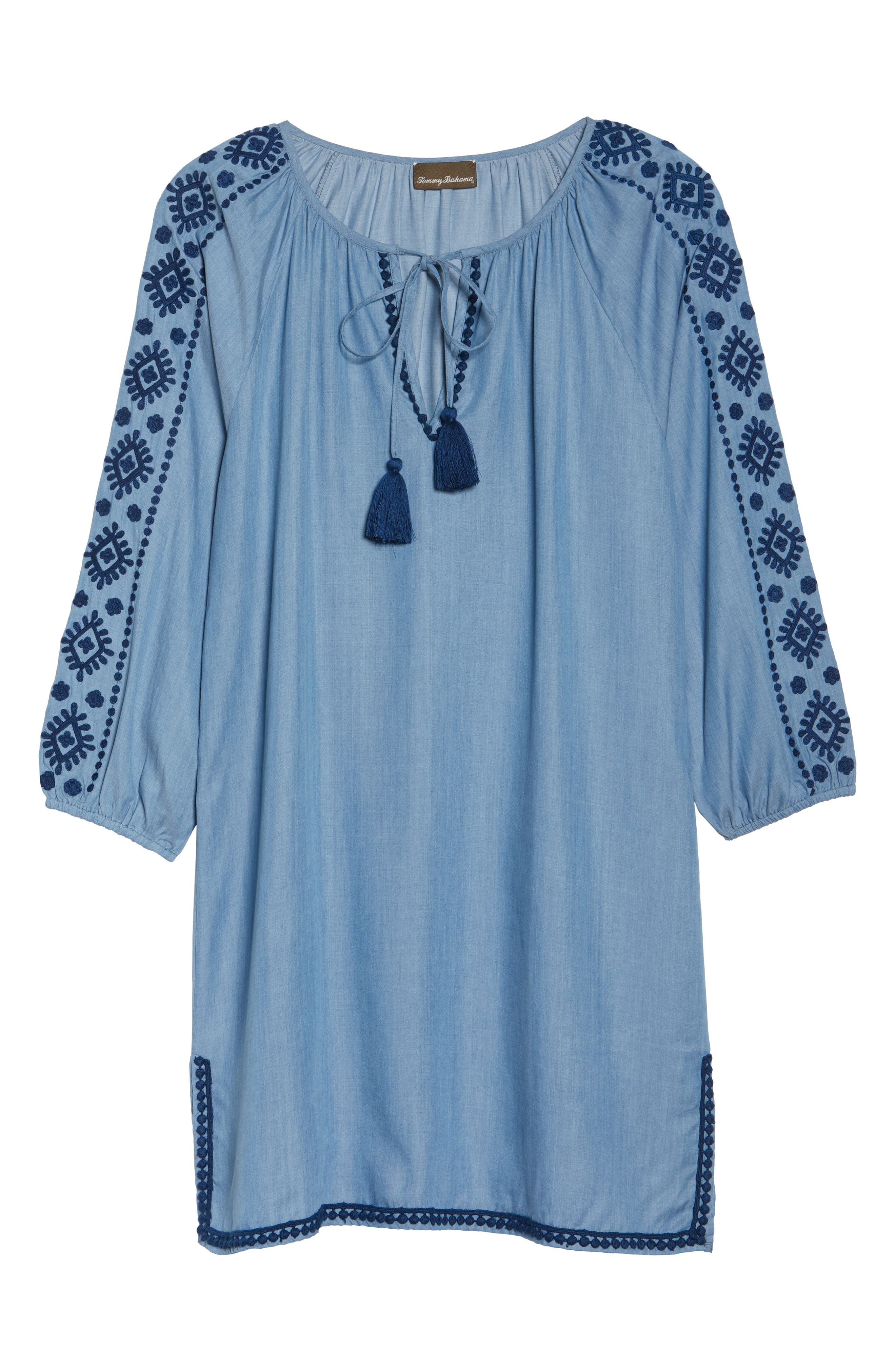 Embroidered Chambray Cover-Up Dress,                             Alternate thumbnail 6, color,                             Chambray