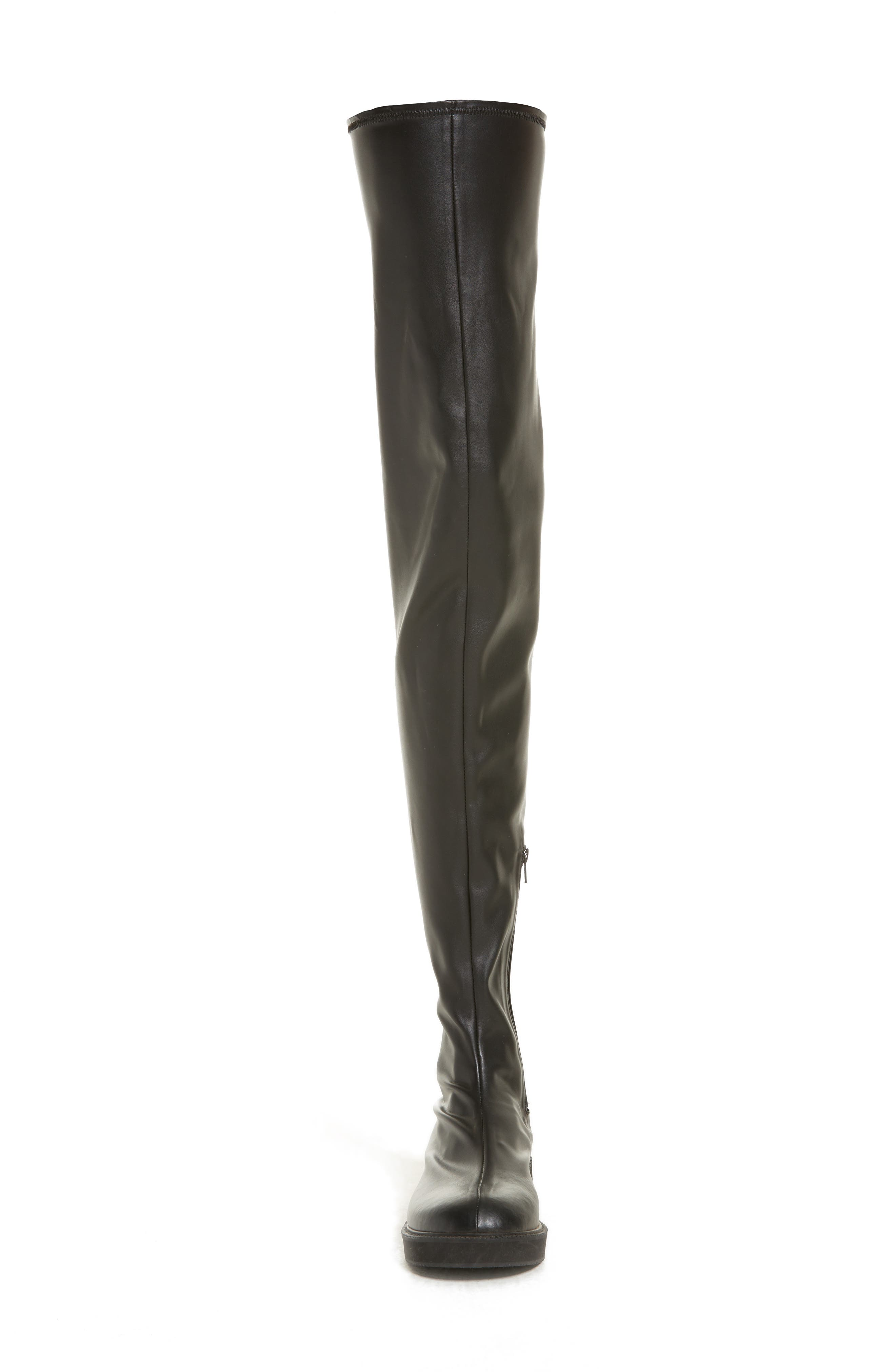 Faux Leather Over the Knee Boot,                             Alternate thumbnail 4, color,                             Black