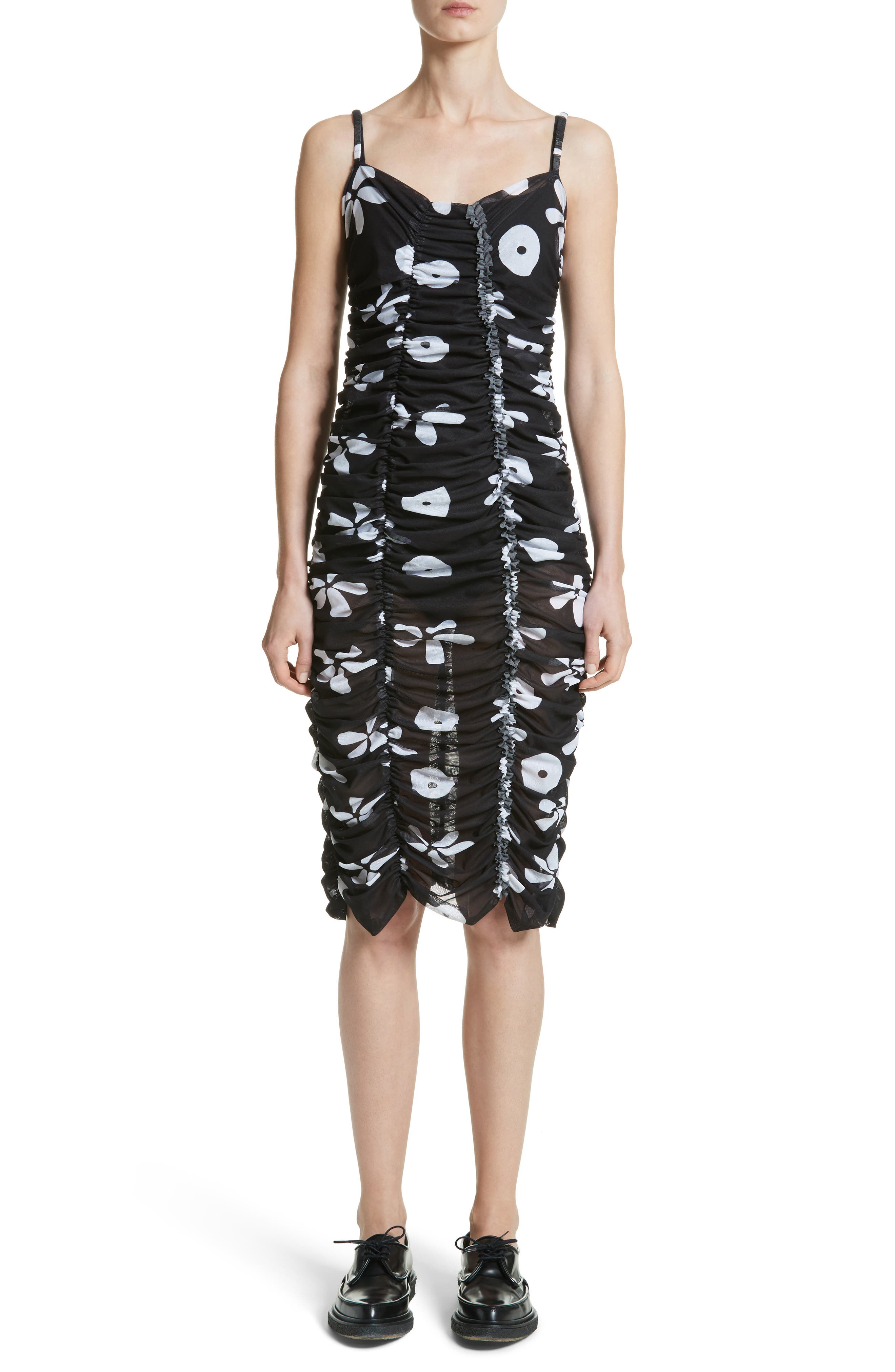 Scarlett Floral Print Mesh Dress,                         Main,                         color, Black/ White