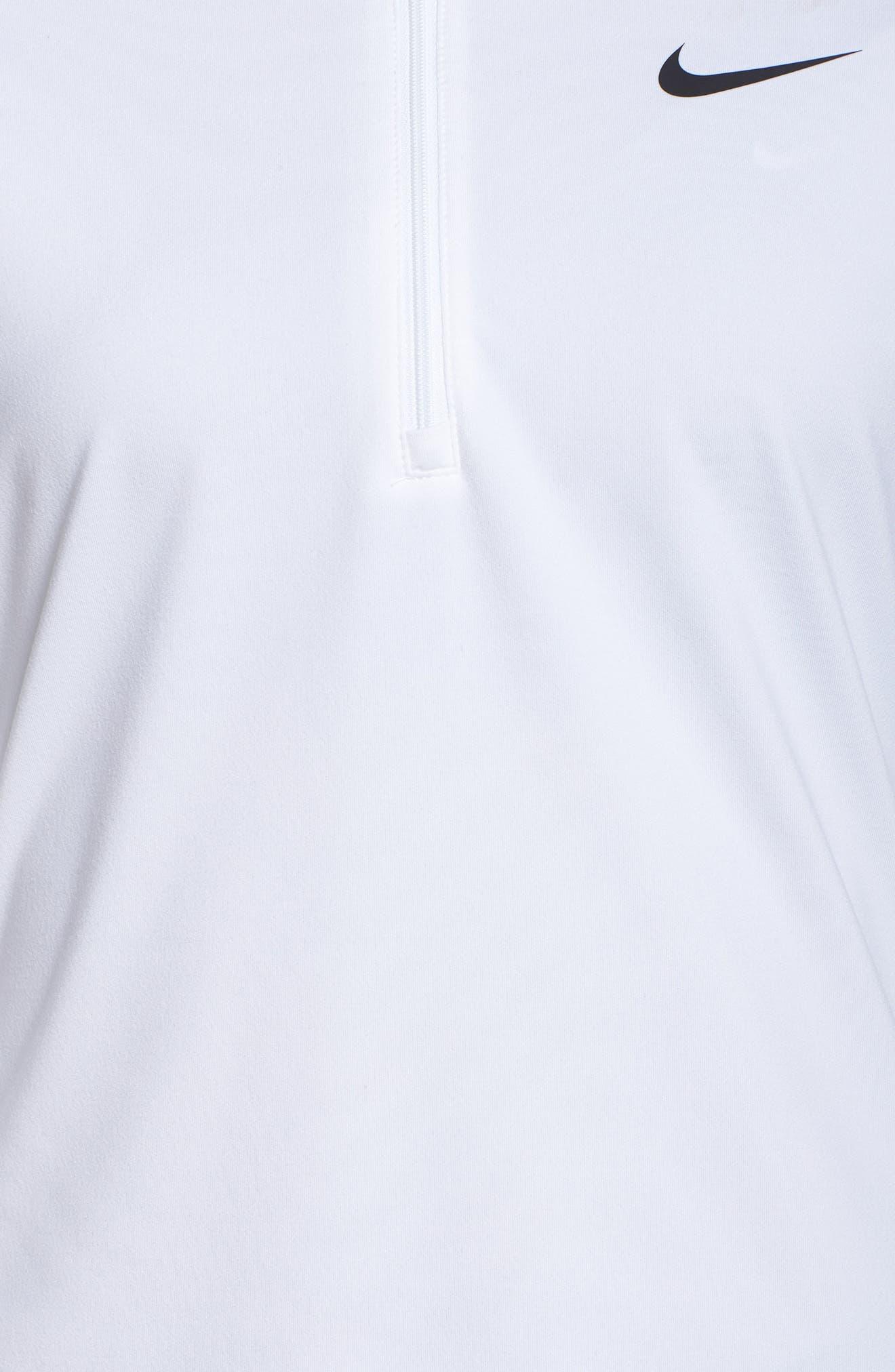 Court Pure Half Zip Tennis Top,                             Alternate thumbnail 6, color,                             White/ Black