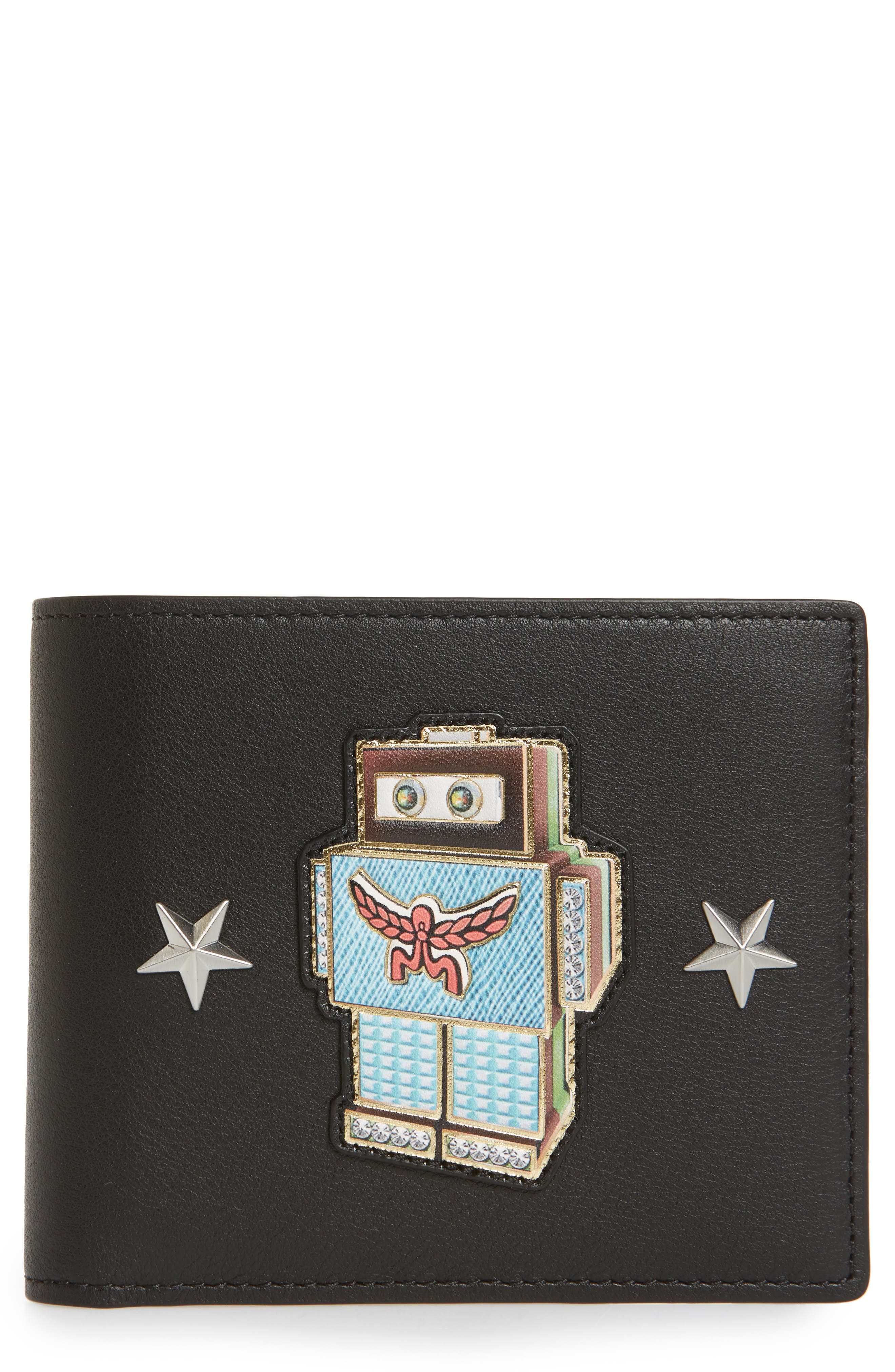 Roboter Series Leather Wallet,                         Main,                         color, Black
