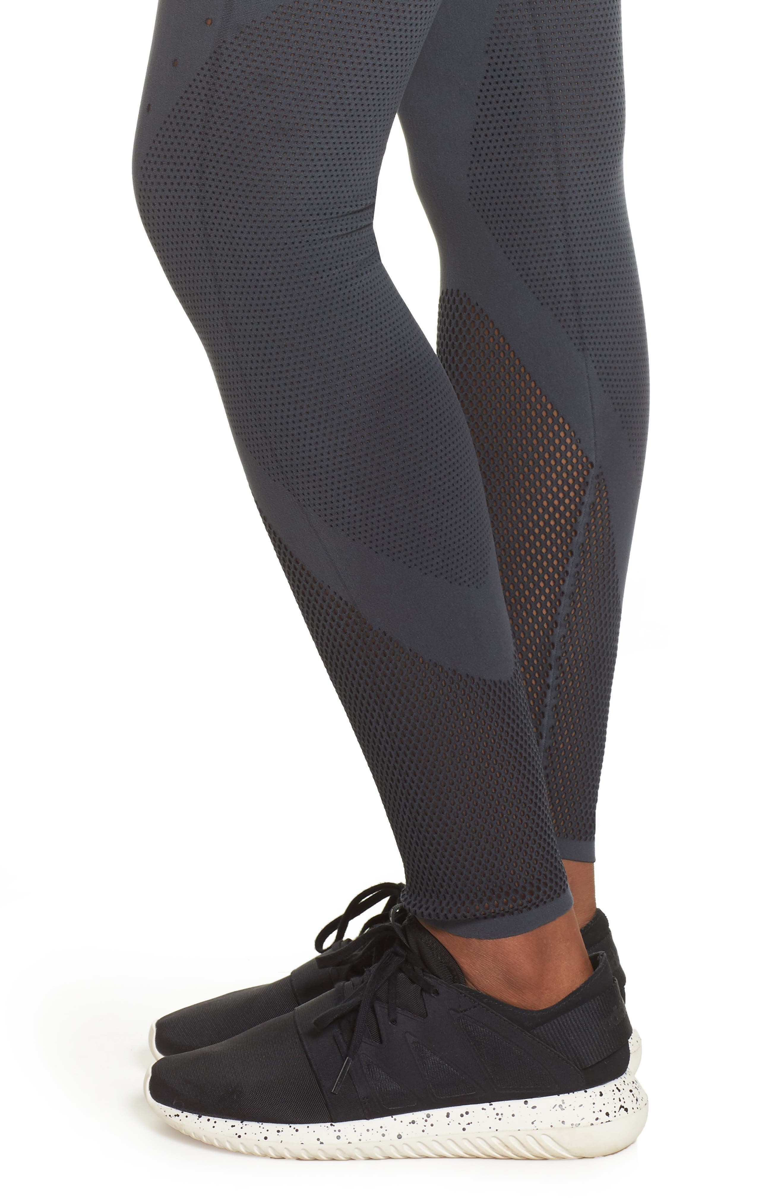 Warp Climacool<sup>®</sup> Knit Tights,                             Alternate thumbnail 4, color,                             Carbon/ Black