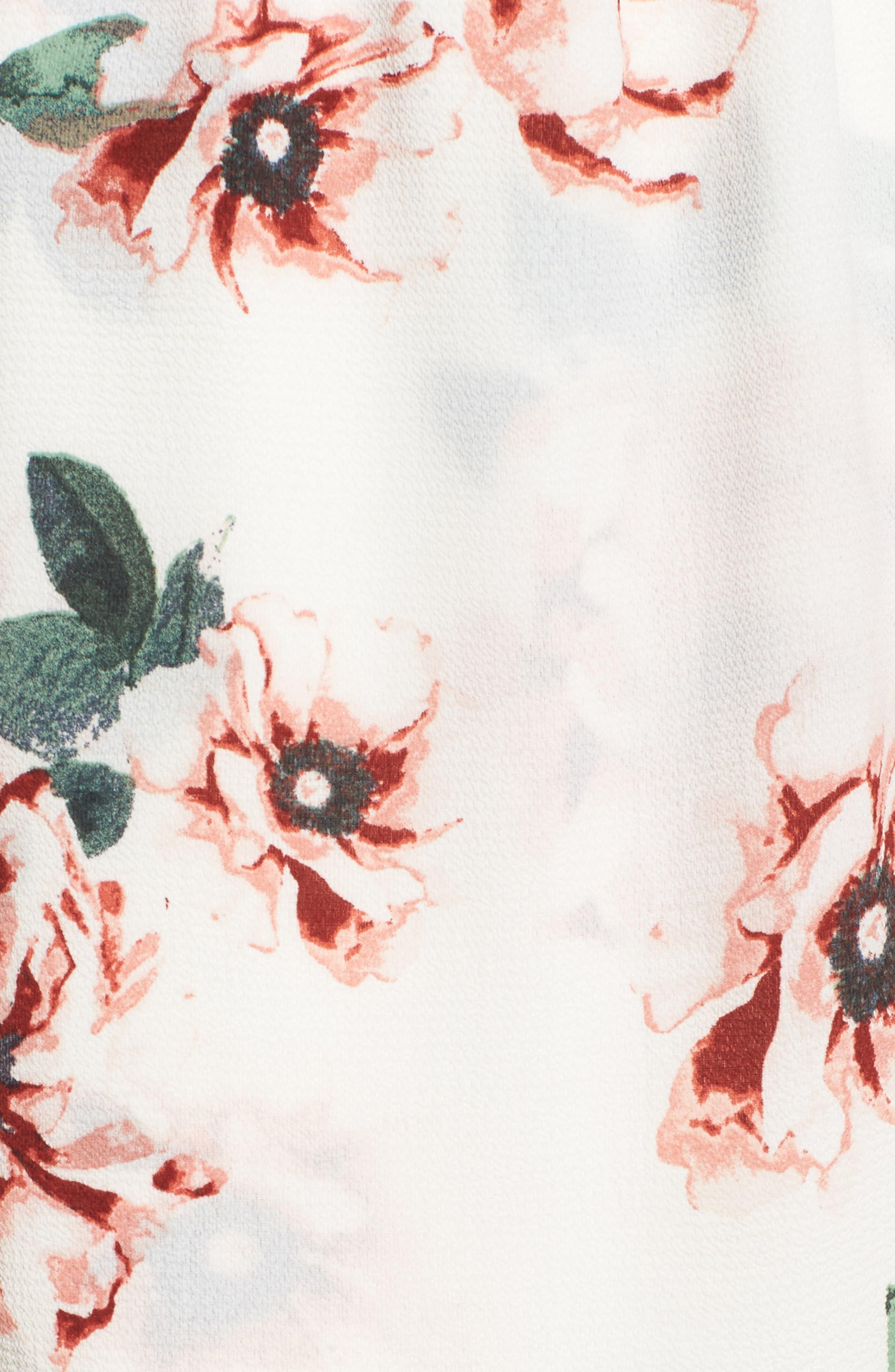 Off the Shoulder Maxi Dress,                             Alternate thumbnail 5, color,                             Ivory Floral