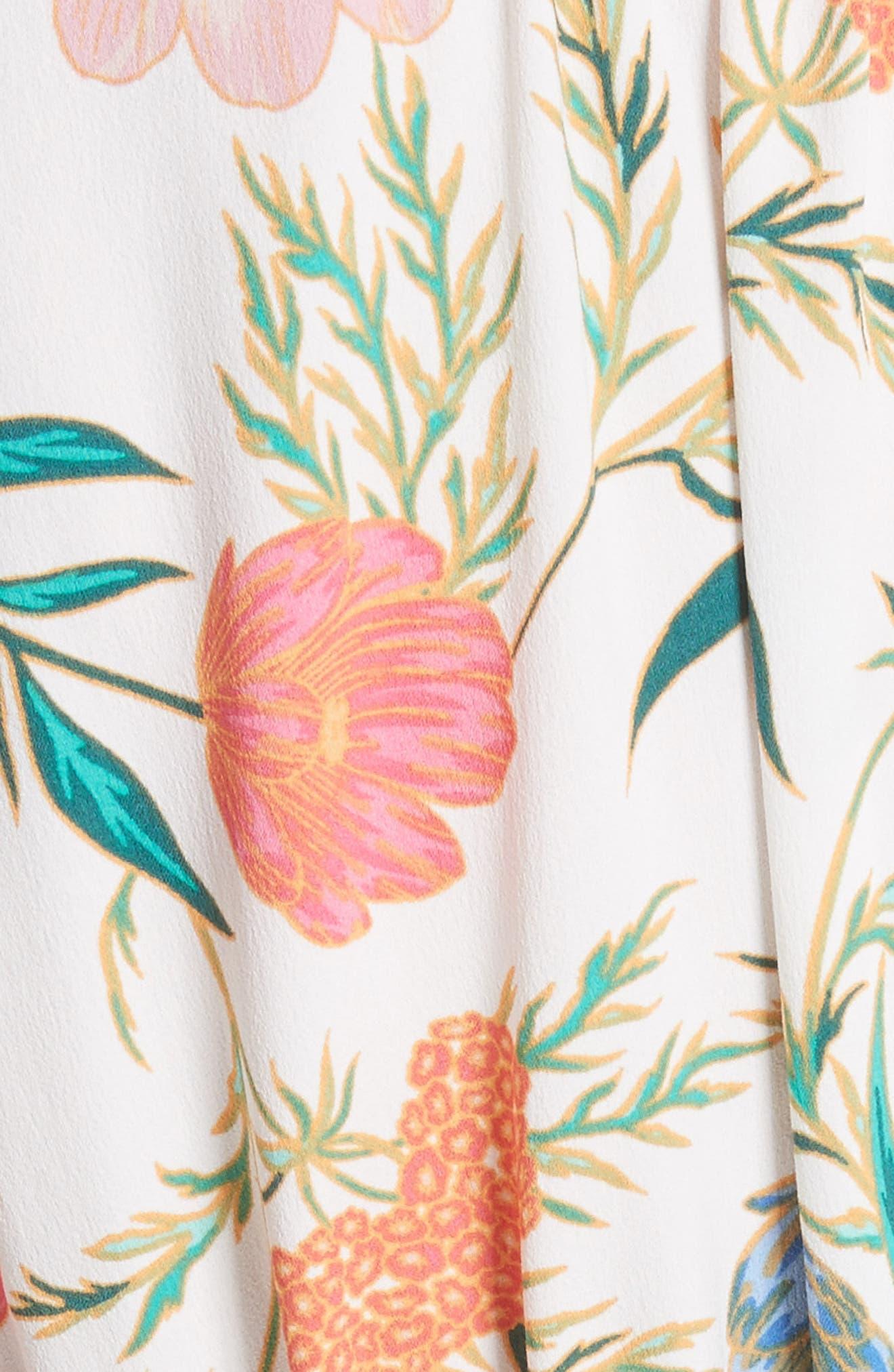 blossom print fluid shirtdress,                             Alternate thumbnail 5, color,                             Cream