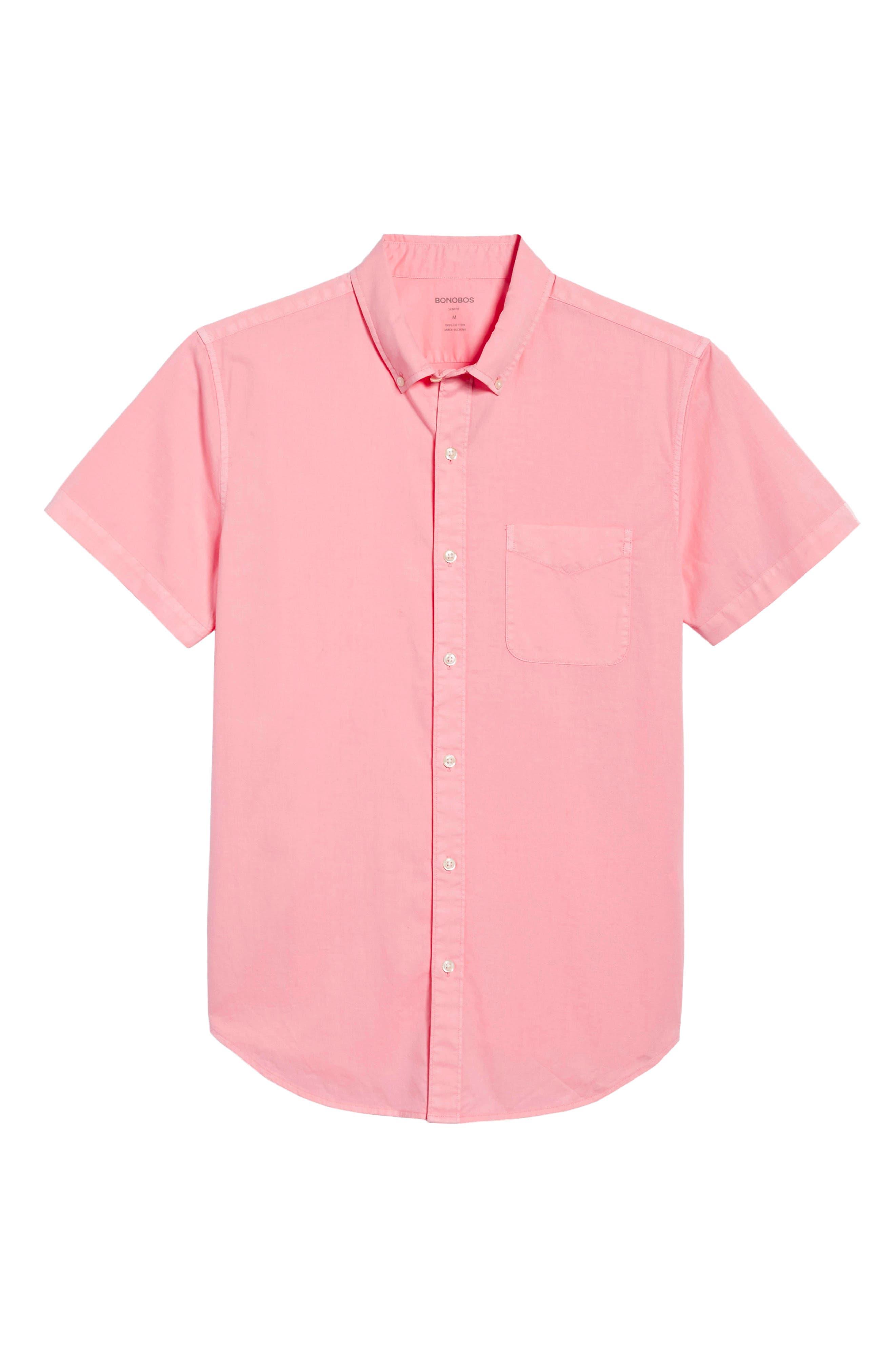 Slim Fit Short Sleeve Sport Shirt,                             Alternate thumbnail 6, color,                             Garment Dye - Pacific Pink