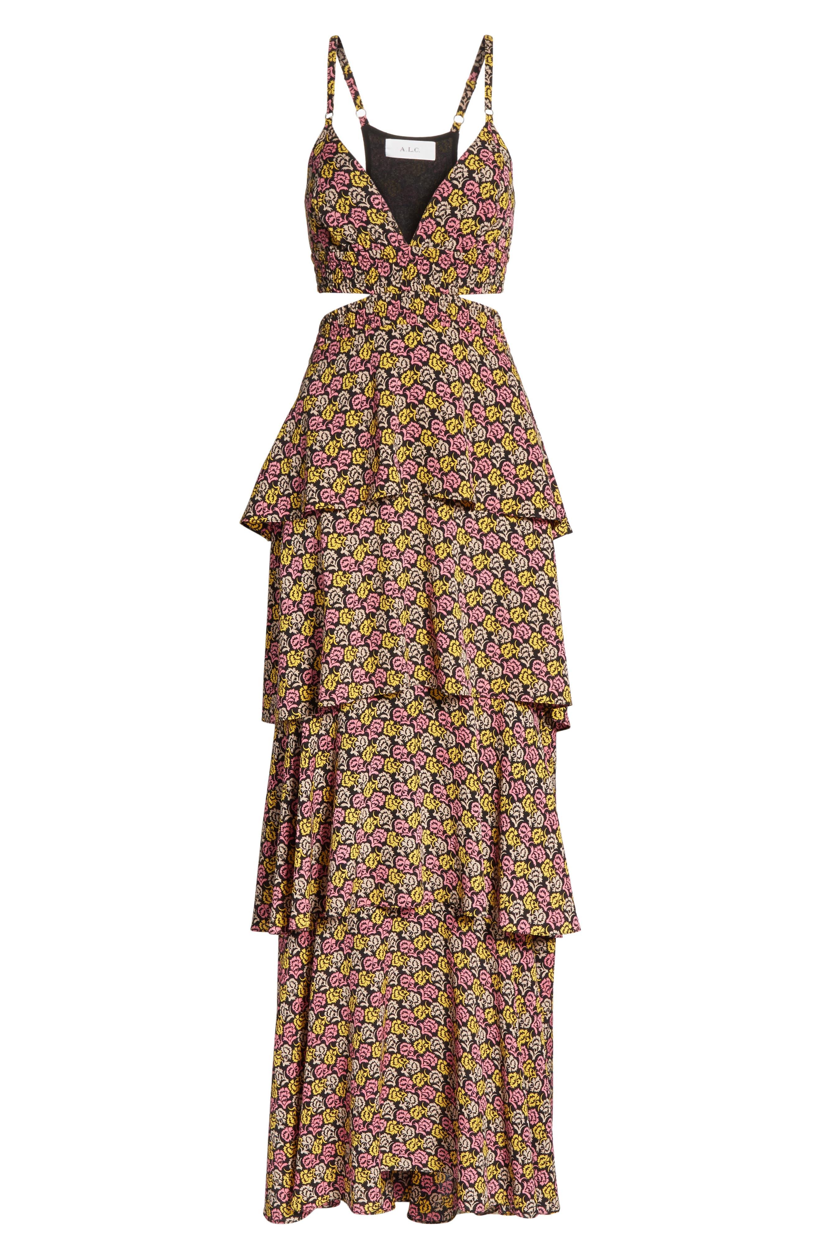 Titus Print Silk Tiered Maxi Dress,                             Alternate thumbnail 6, color,                             Pink Multi