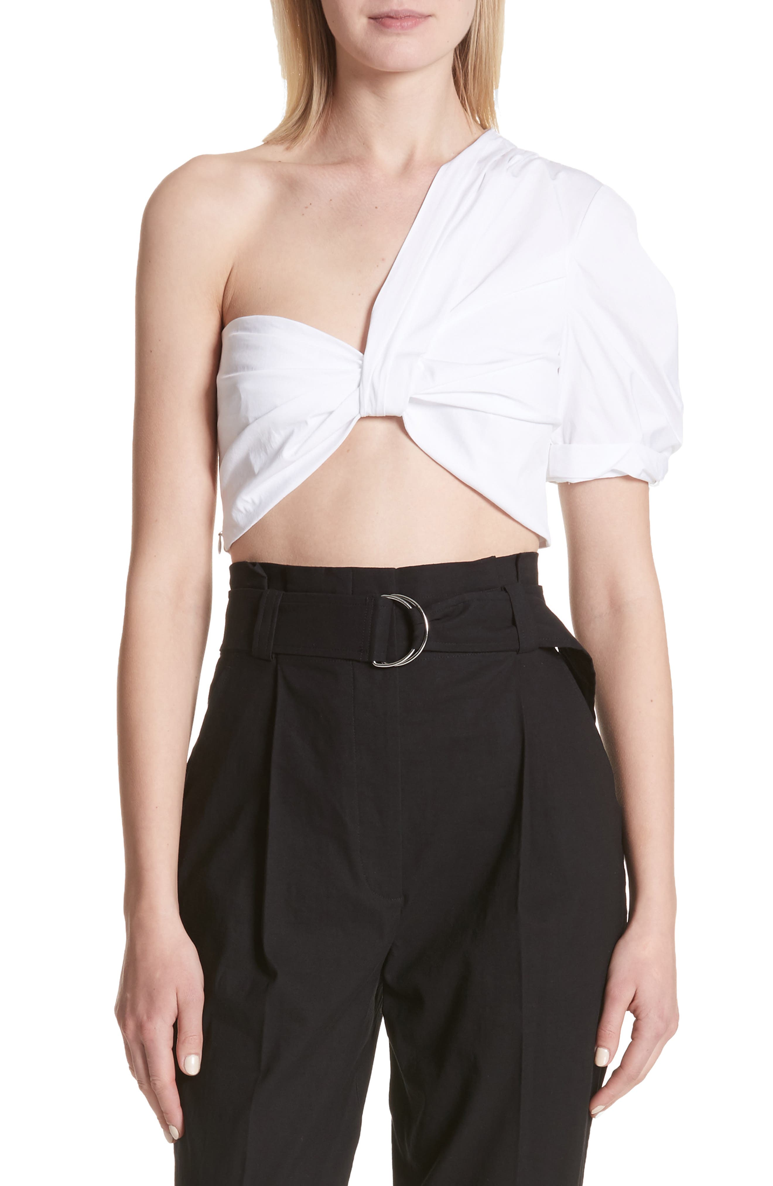 Tomlin One-Shoulder Crop Top,                             Main thumbnail 1, color,                             Gesso