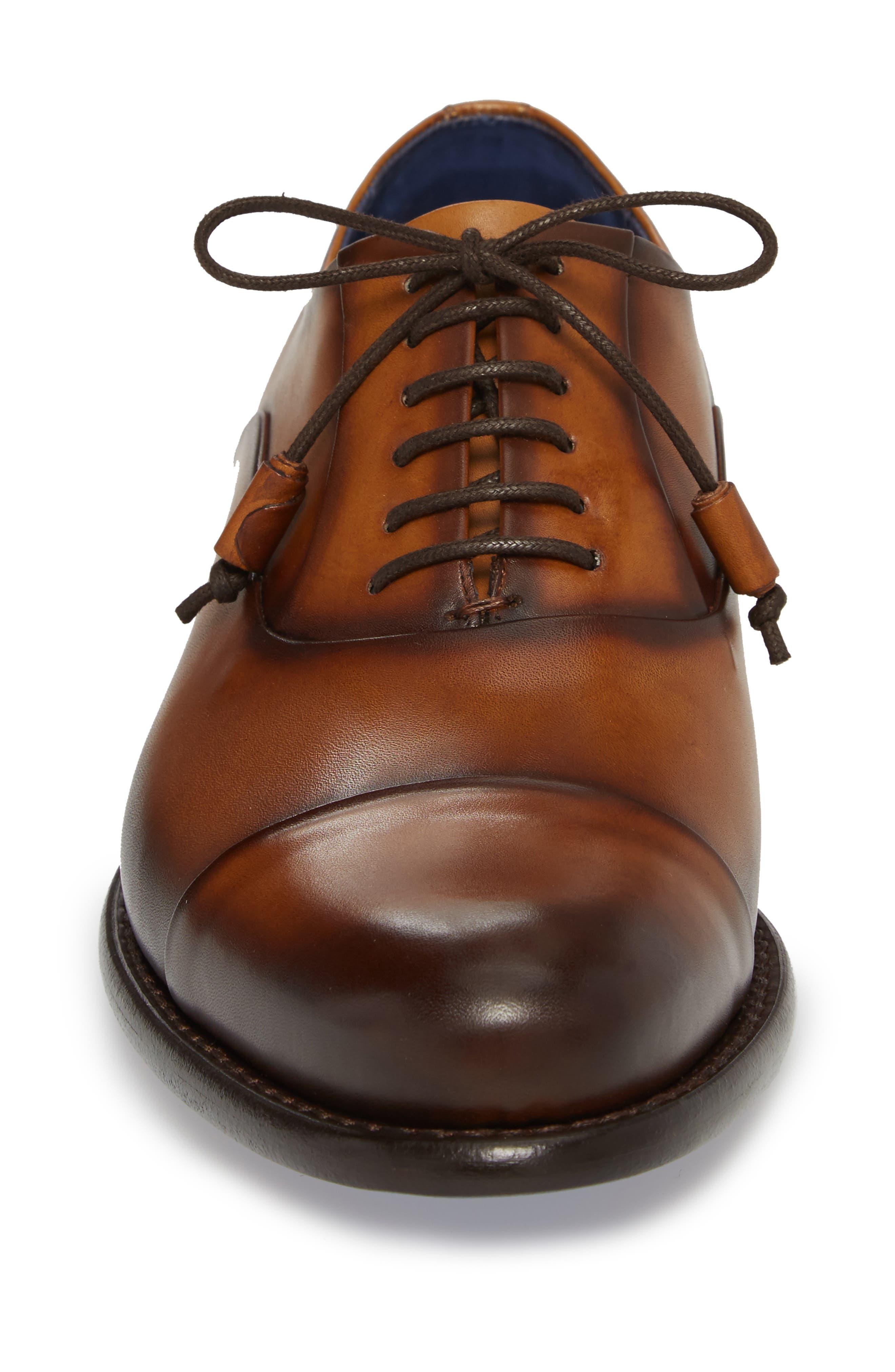 Helios Cap Toe Oxford,                             Alternate thumbnail 4, color,                             Honey Leather