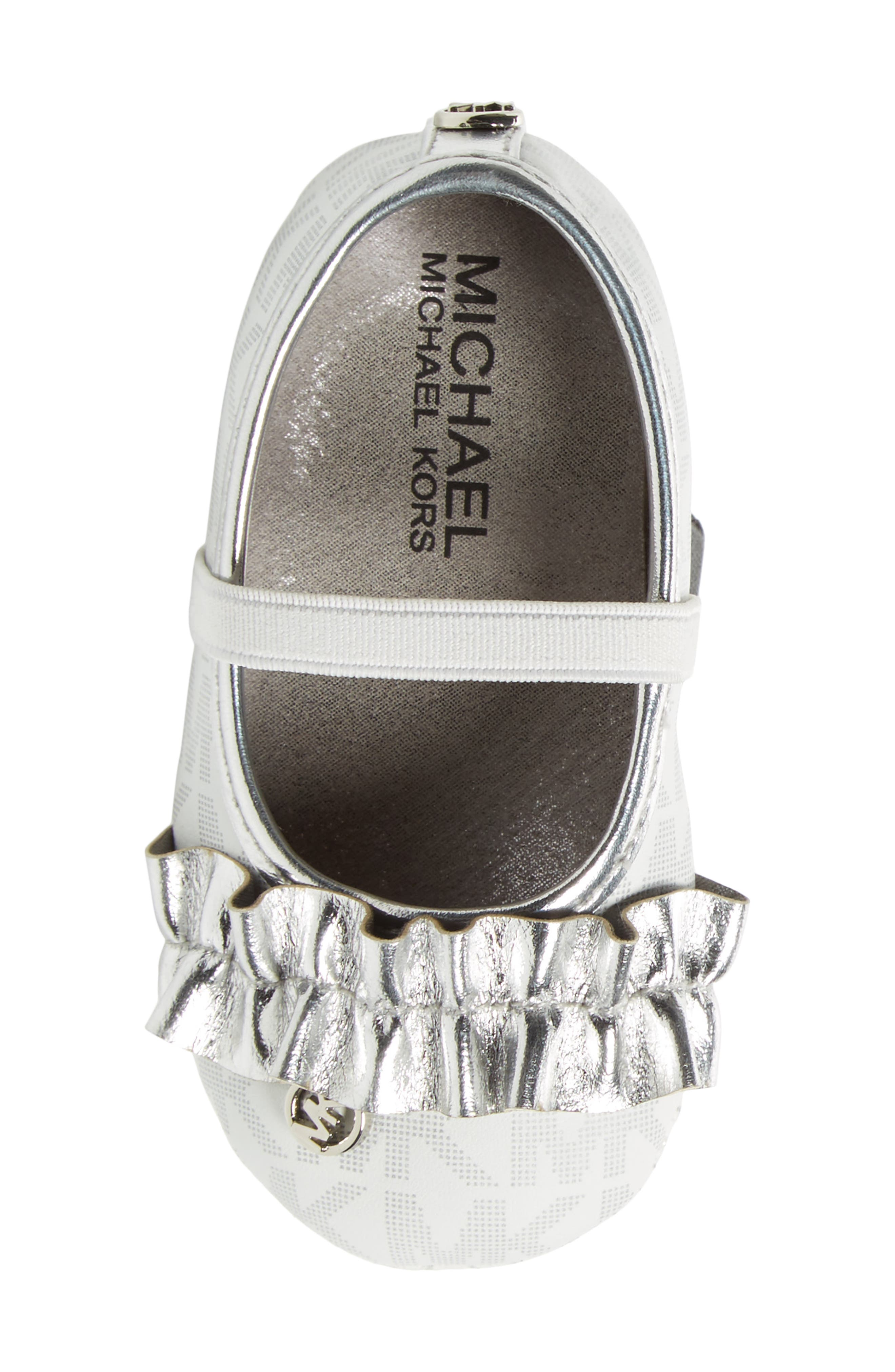 Baby Flower Ruffled Mary Jane Crib Shoe,                             Alternate thumbnail 5, color,                             White Silver