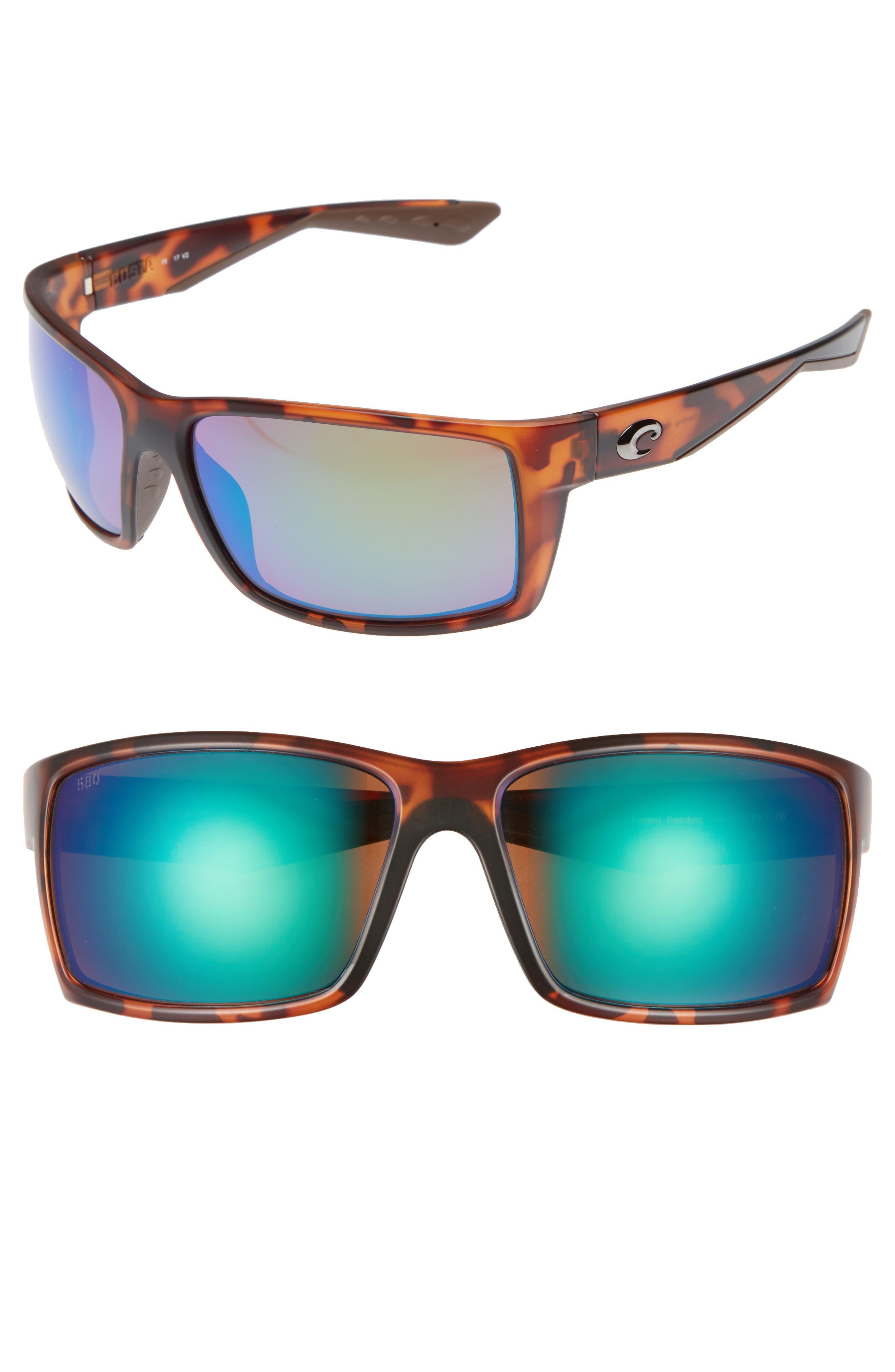 Reefton 65mm Polarized Sunglasses,                         Main,                         color, Tortoise/ Green Mirror