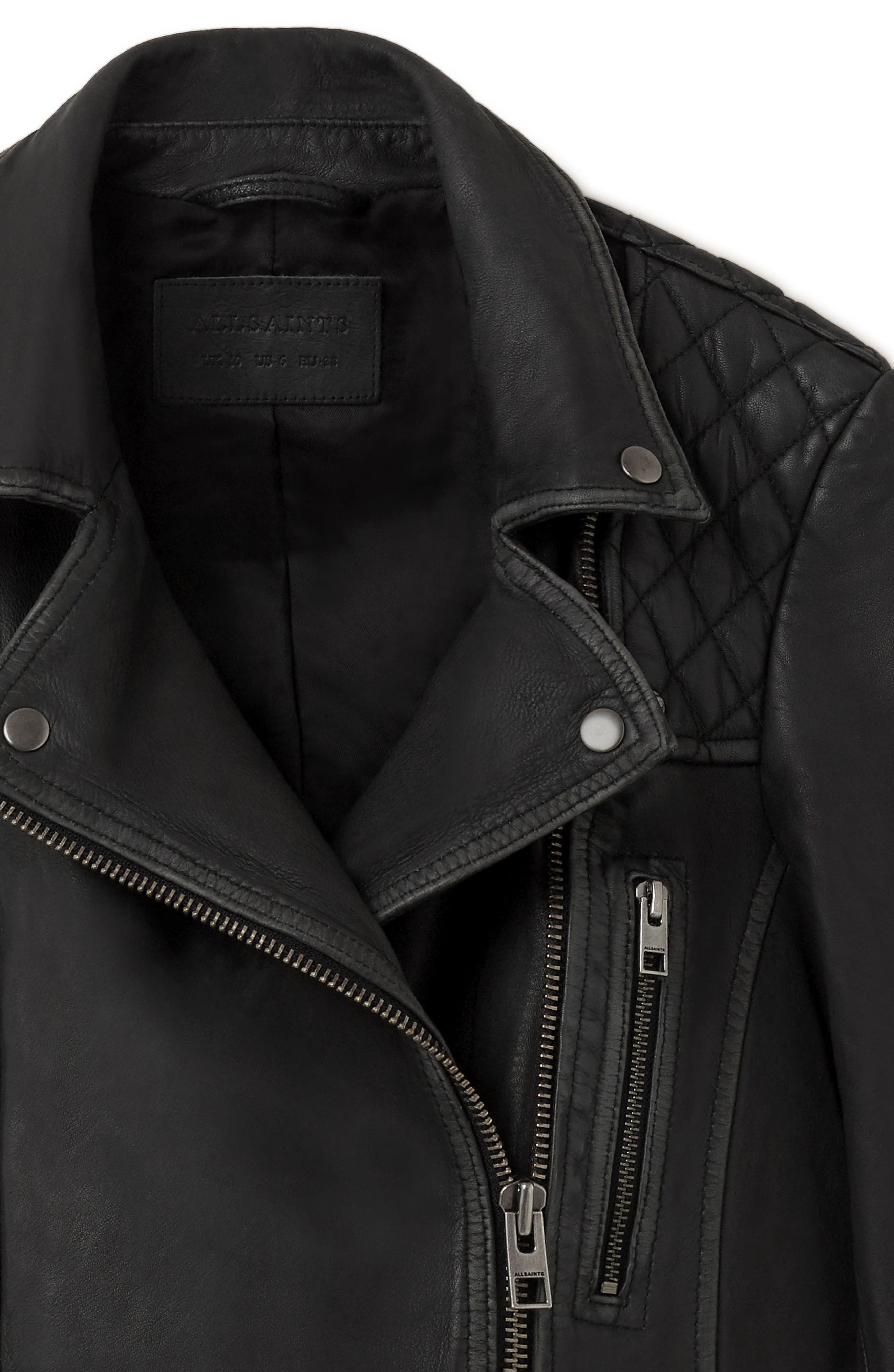 Cargo Leather Biker Jacket,                             Alternate thumbnail 4, color,                             Black/ Grey