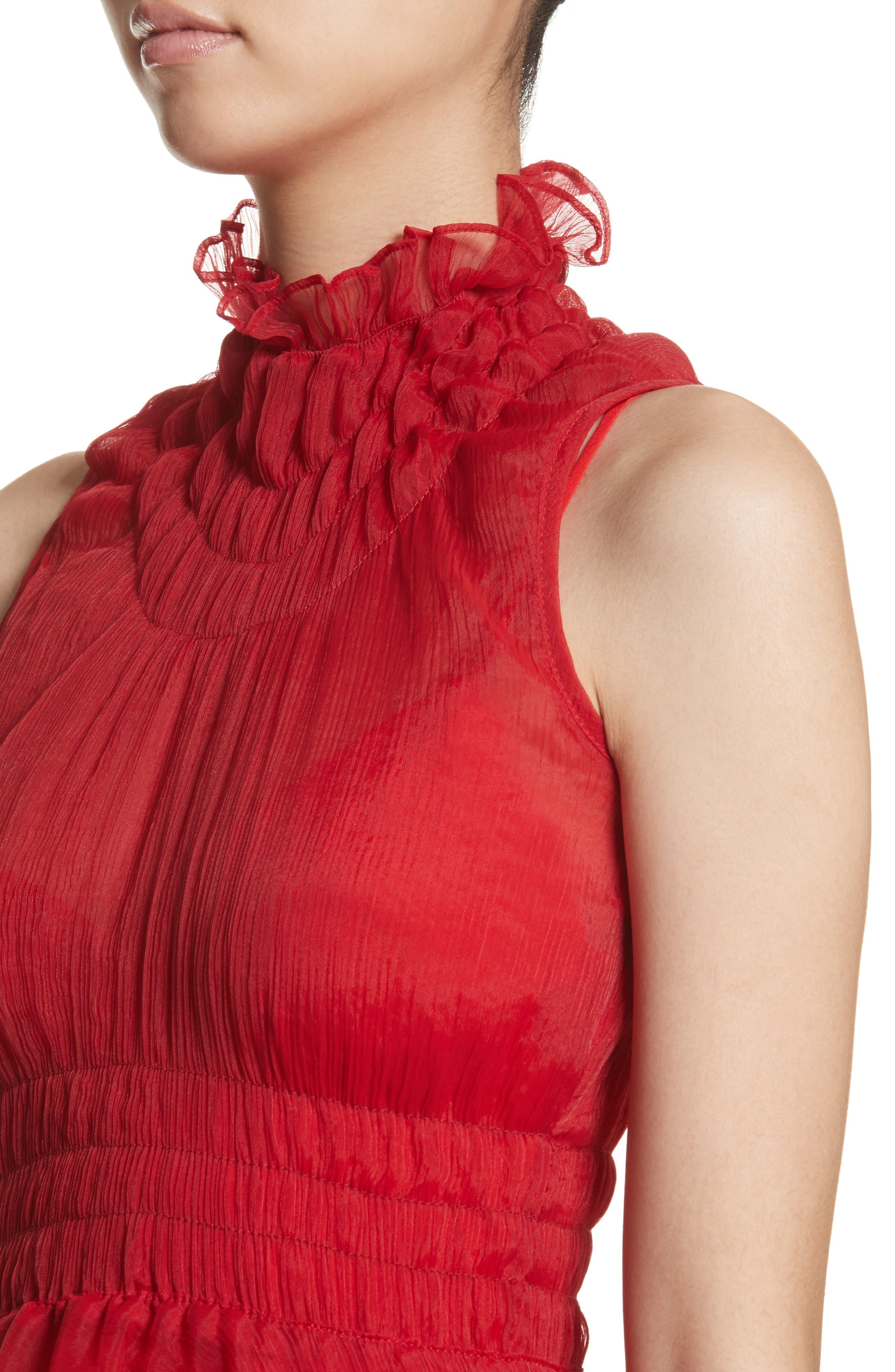 Venus Chiffon Dress,                             Alternate thumbnail 4, color,                             Red