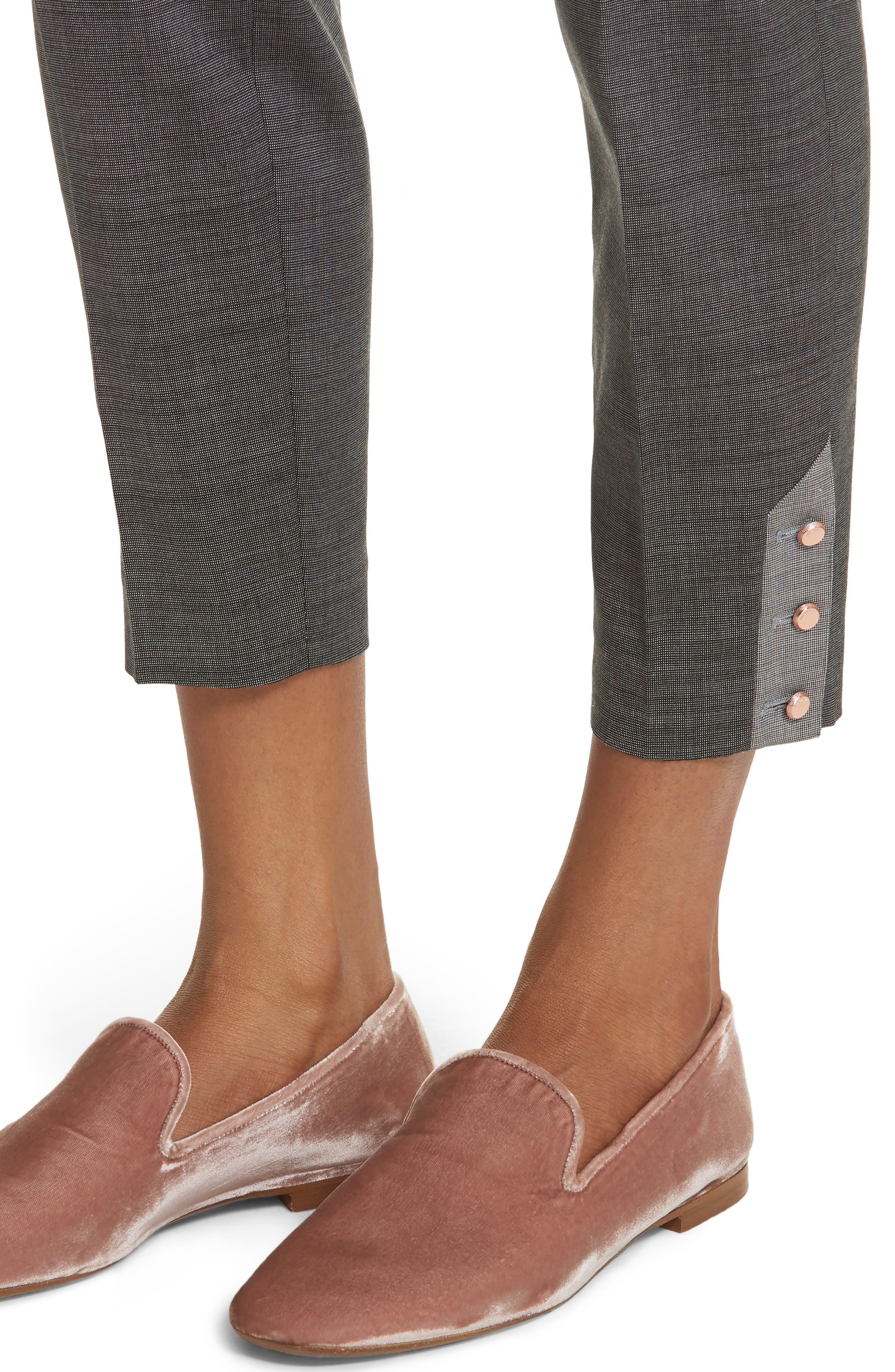Contrast Trim Slim Leg Trousers,                             Alternate thumbnail 4, color,                             Grey