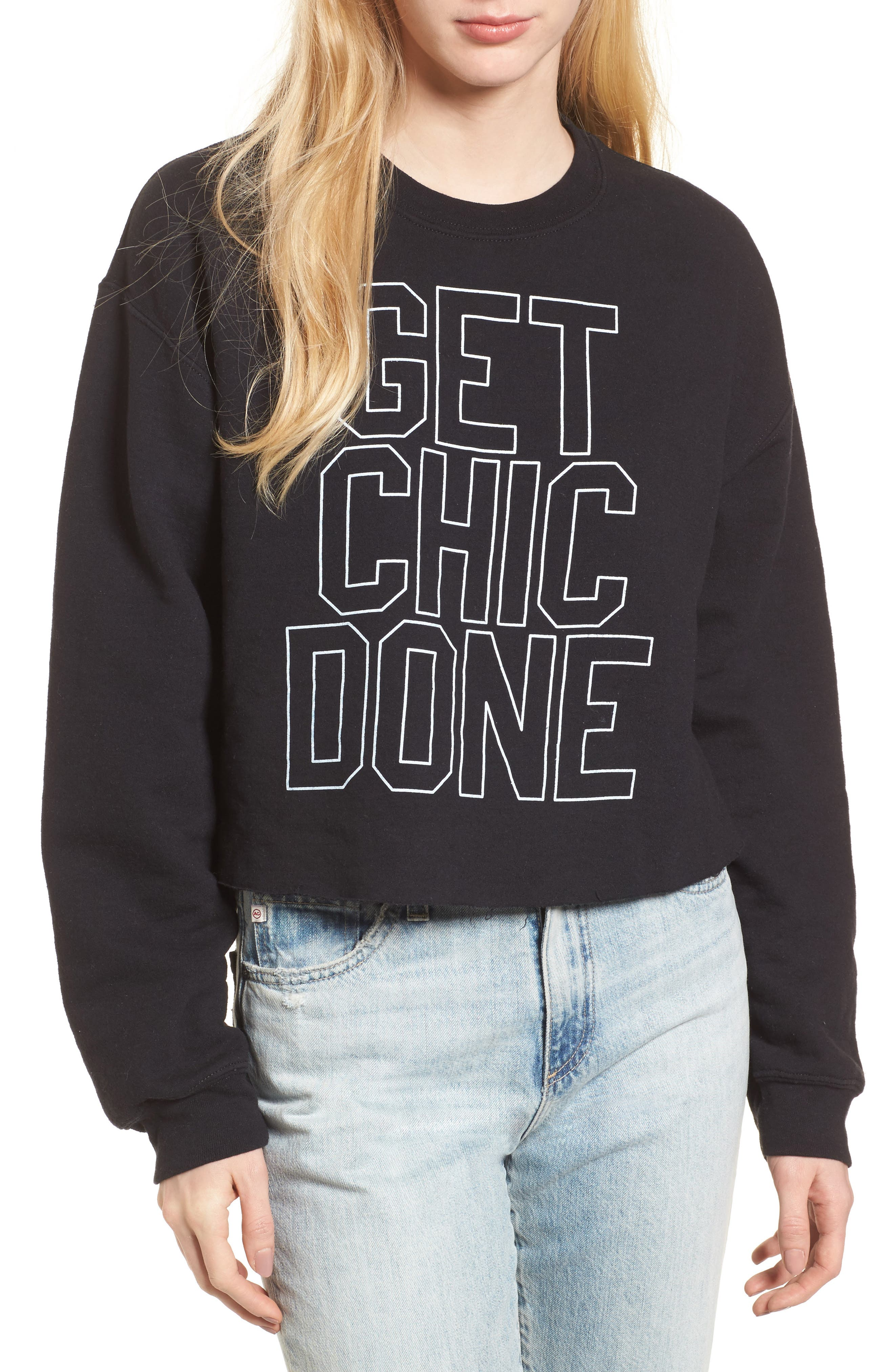 Get Chic Done Sweatshirt,                             Main thumbnail 1, color,                             Black