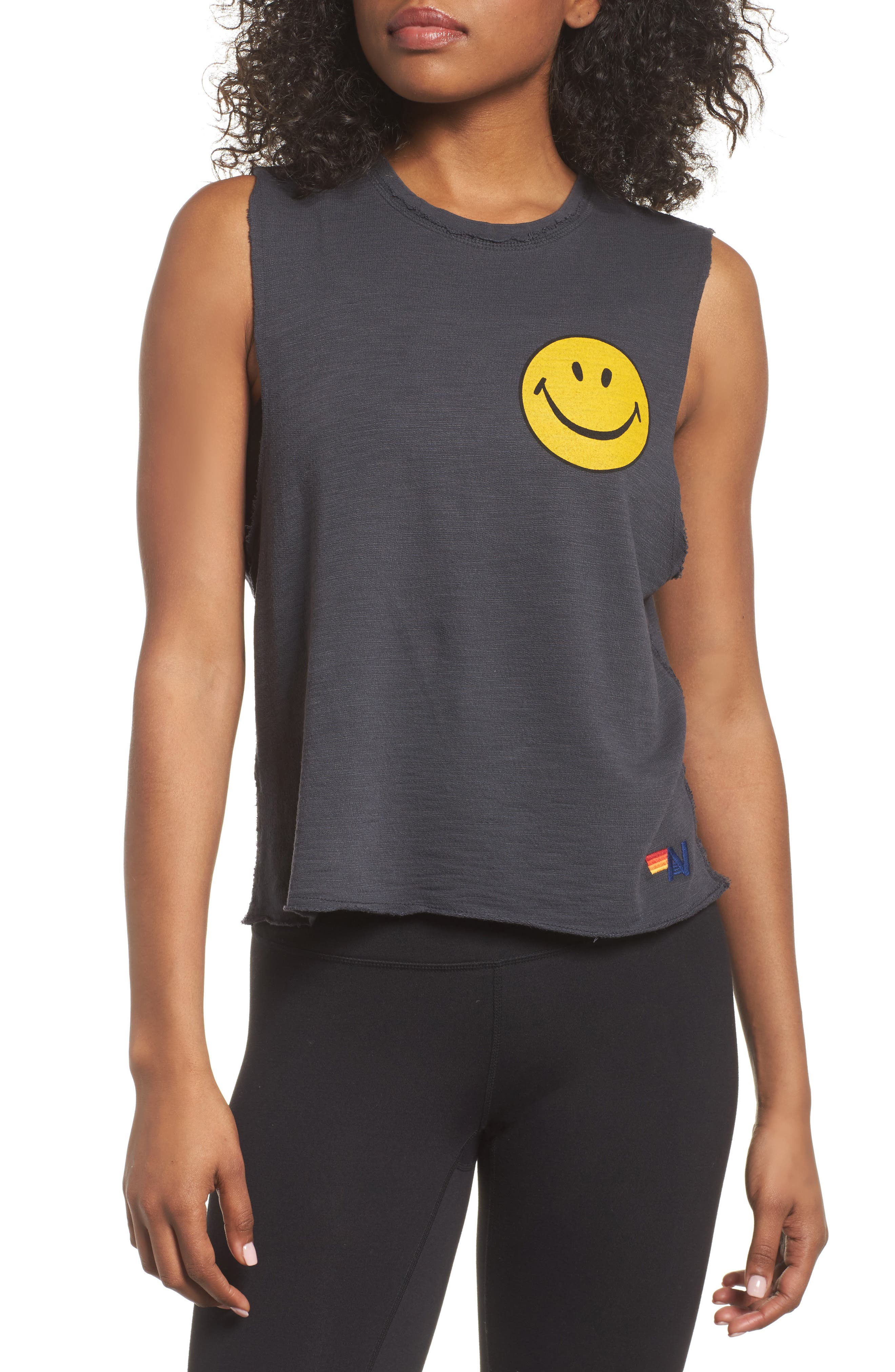 Smiley Muscle Tee,                         Main,                         color, Vintage Coal