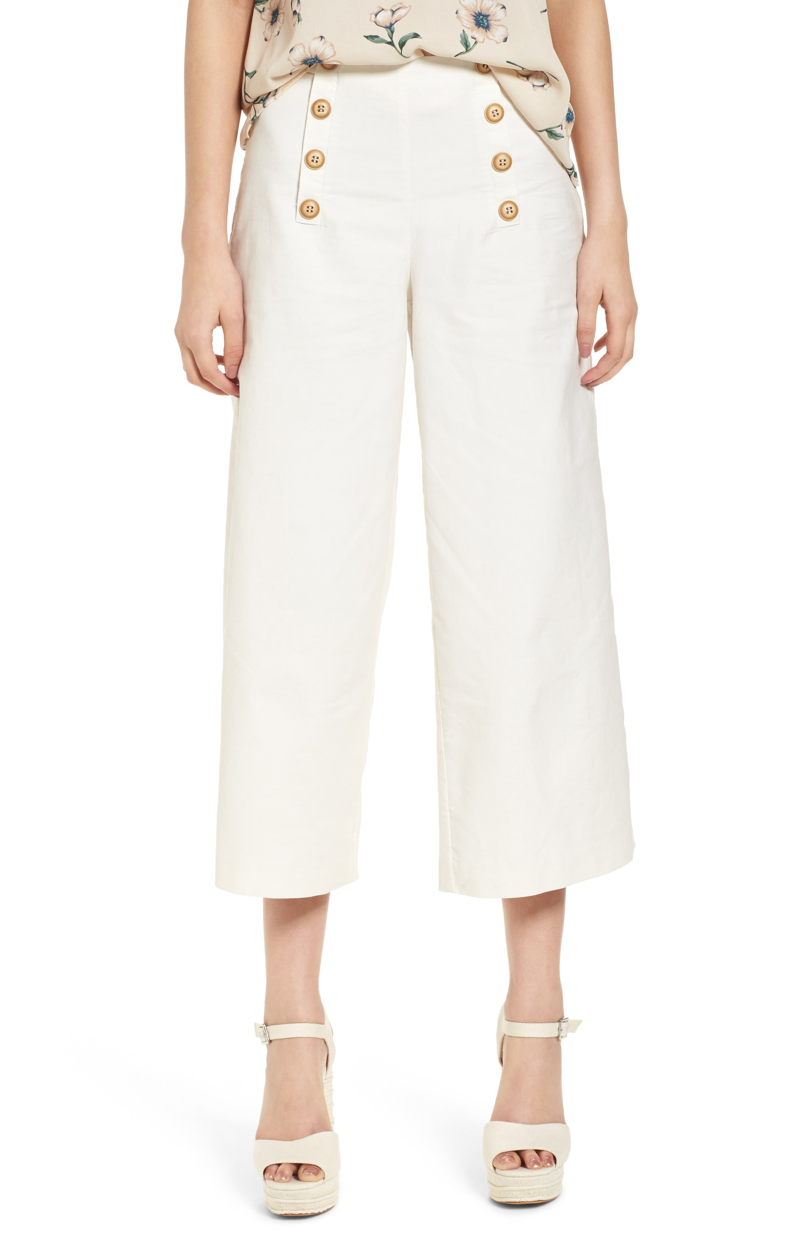 Button Front Culottes,                         Main,                         color, White