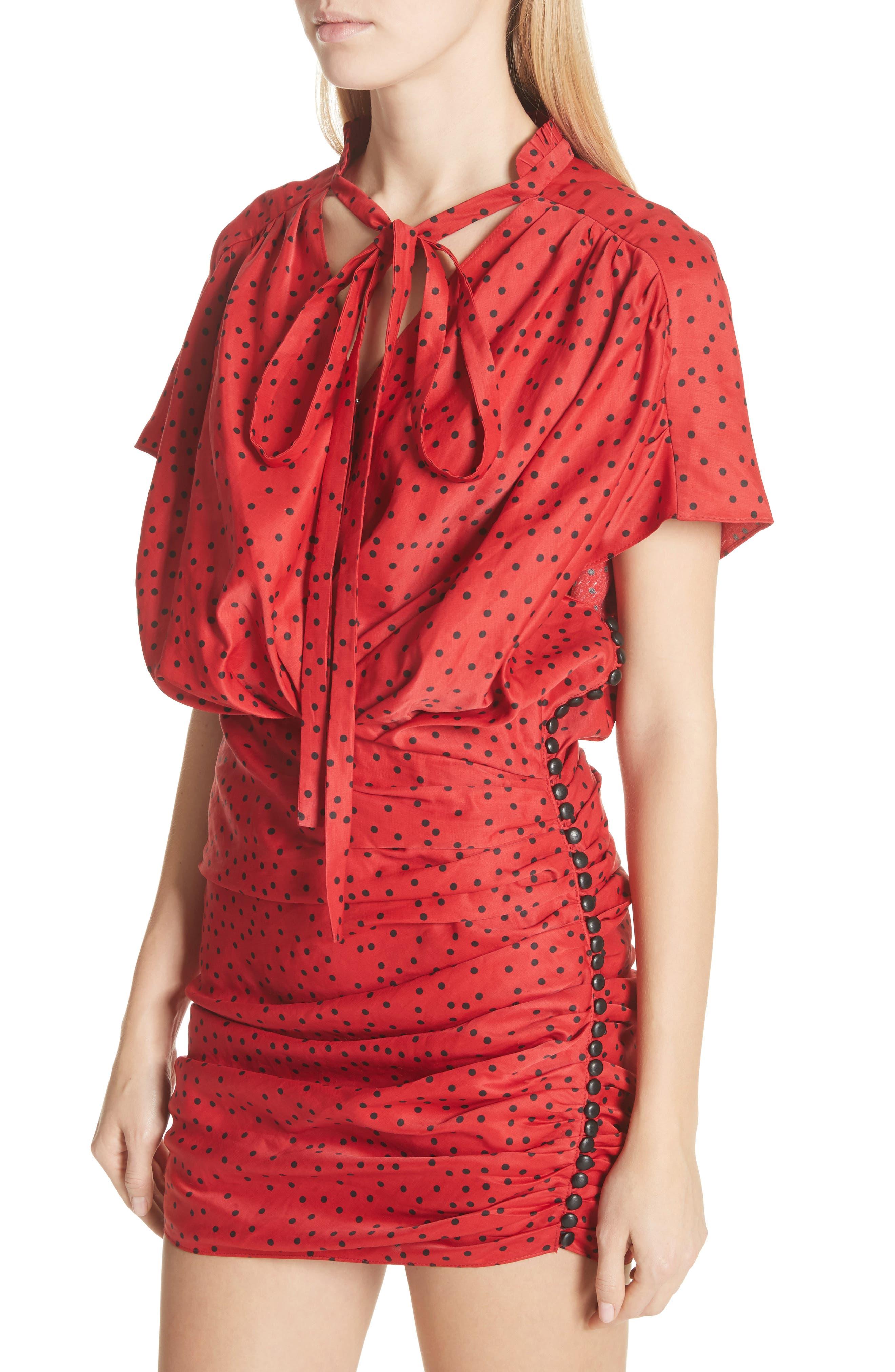 Polka Dot Linen Blend Minidress,                             Alternate thumbnail 4, color,                             Red